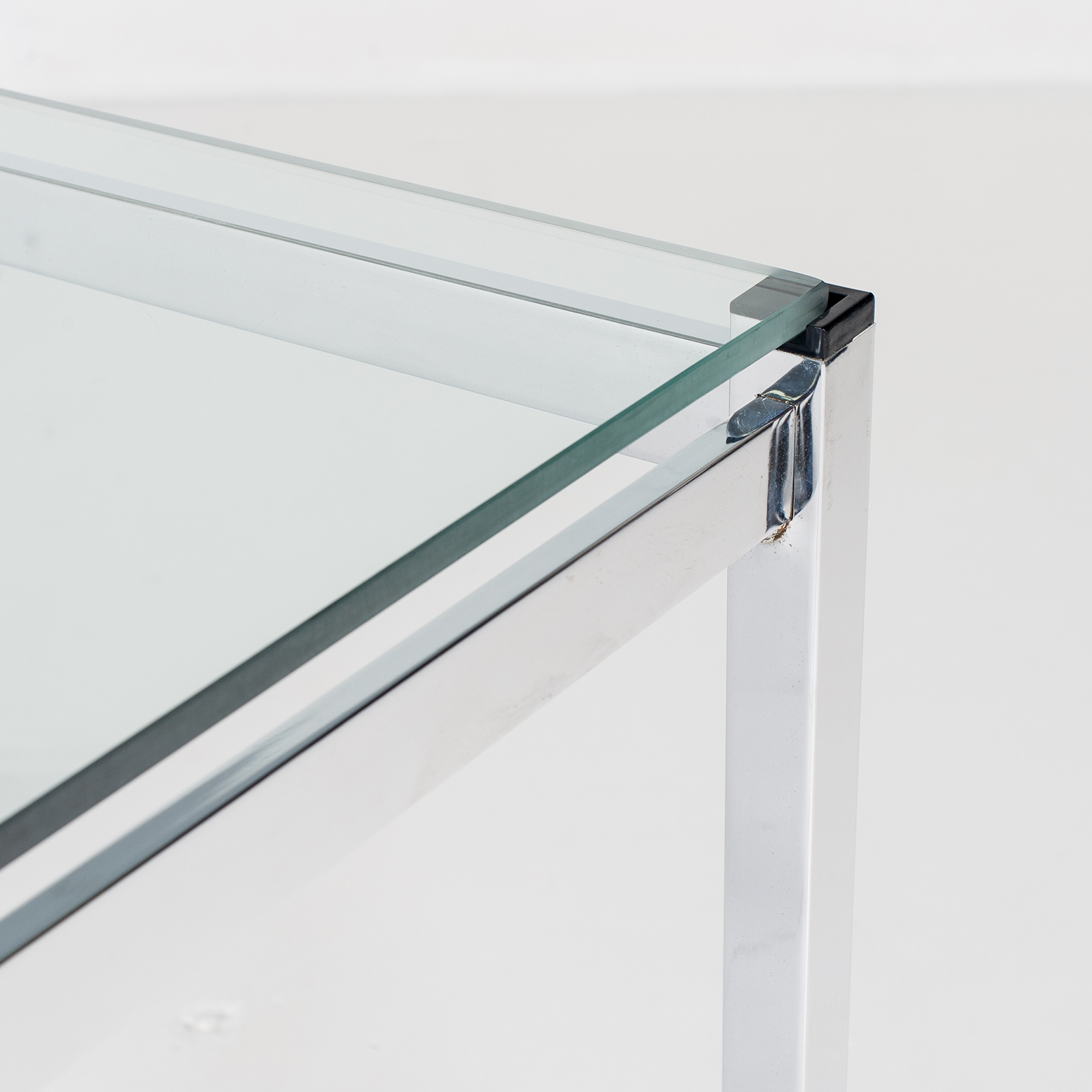 Dining Table In Glass And Chrome, 1970s, The Netherlands797