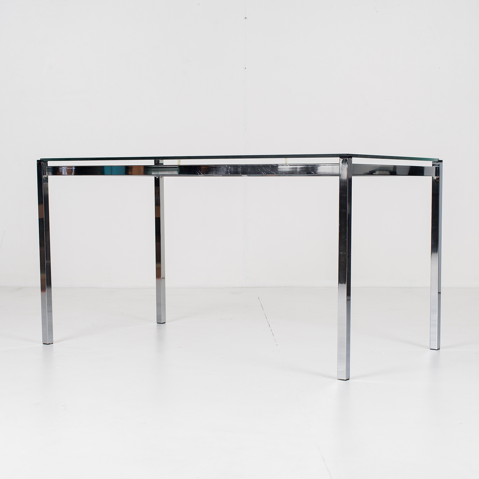 Dining Table In Glass And Chrome, 1970s, The Netherlands803