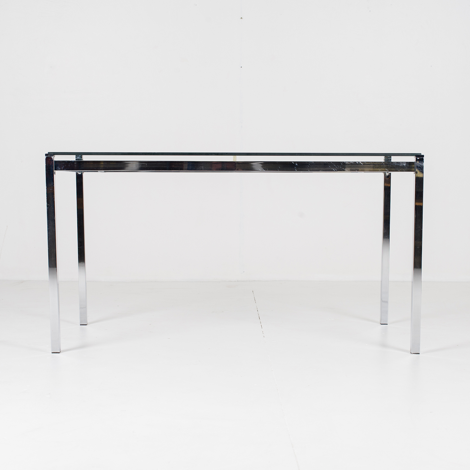 Dining Table In Glass And Chrome, 1970s, The Netherlands806