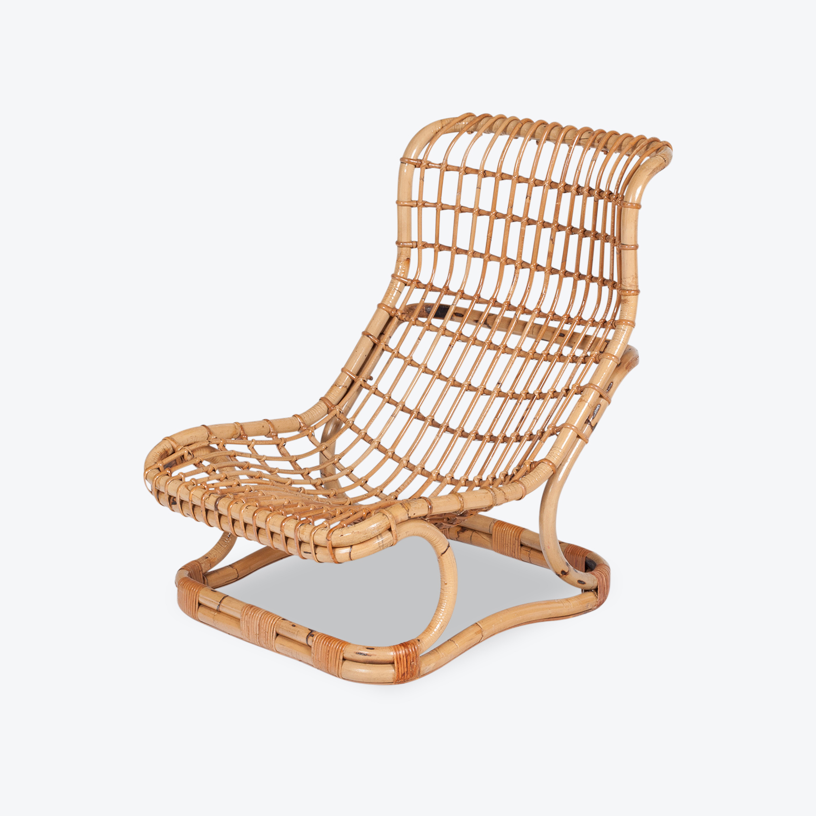 Lounge Chair By Tito Agnoli In Cane, 1960s, Italy Hero