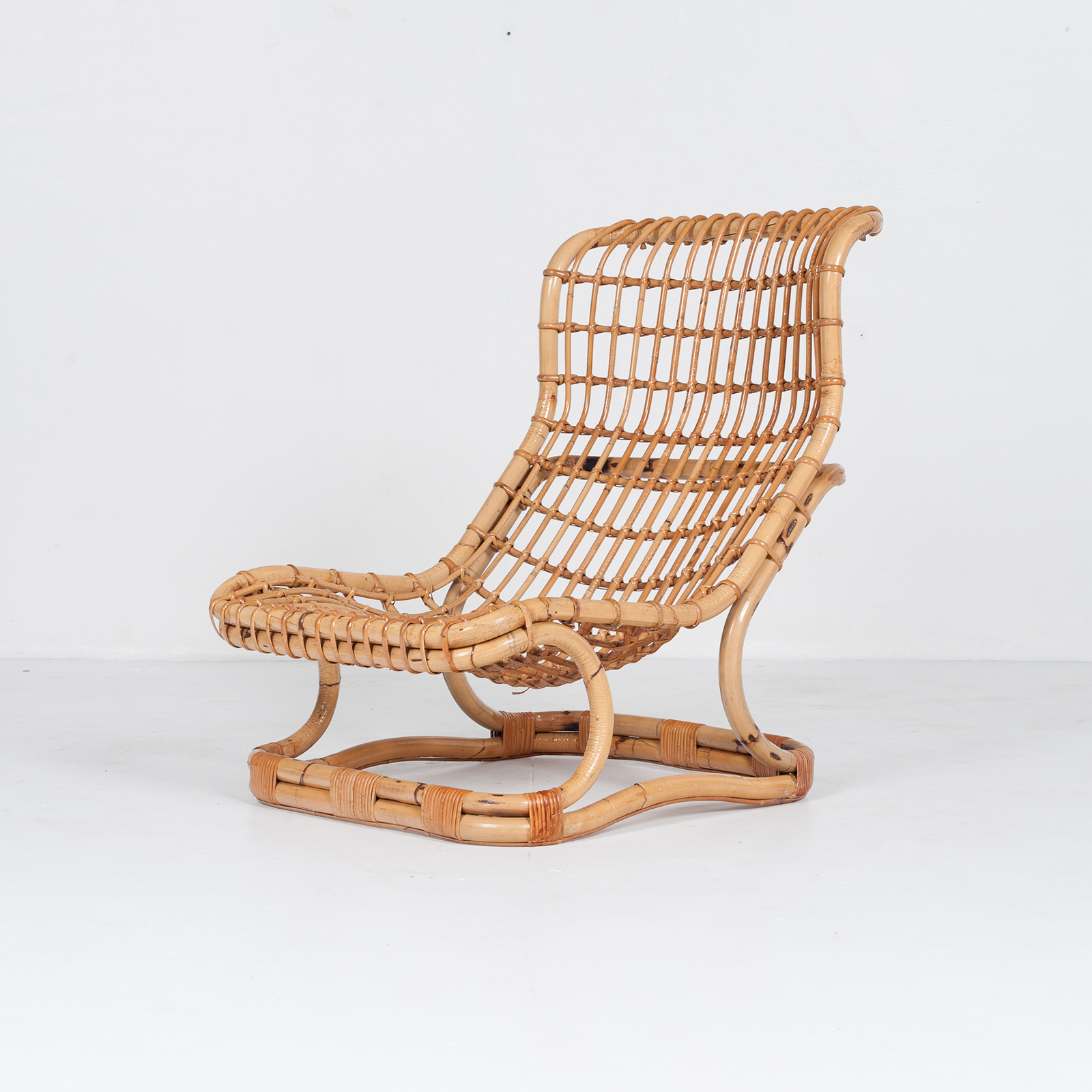 Lounge Chair By Tito Agnoli In Cane, 1960s, Italy53