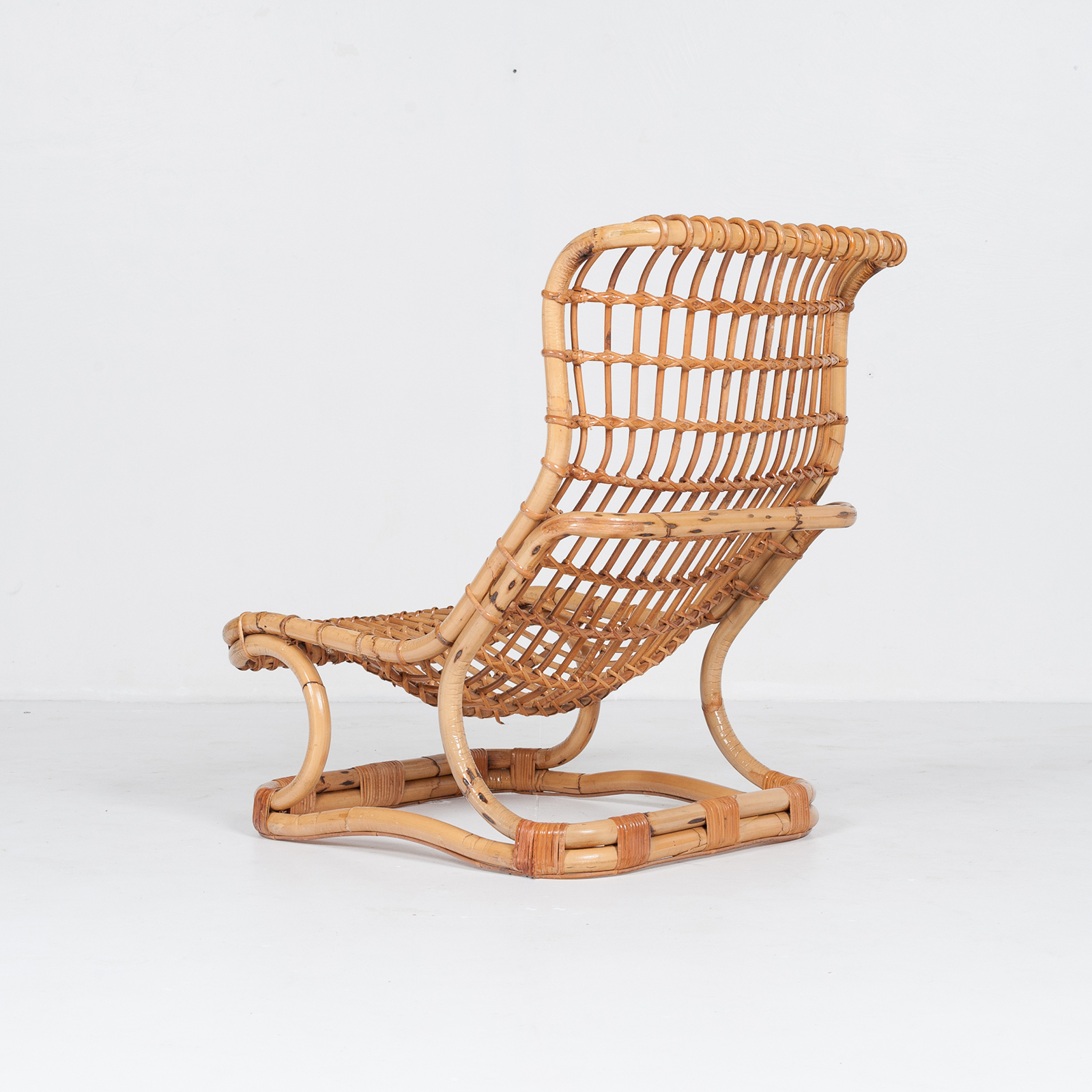 Lounge Chair By Tito Agnoli In Cane, 1960s, Italy57