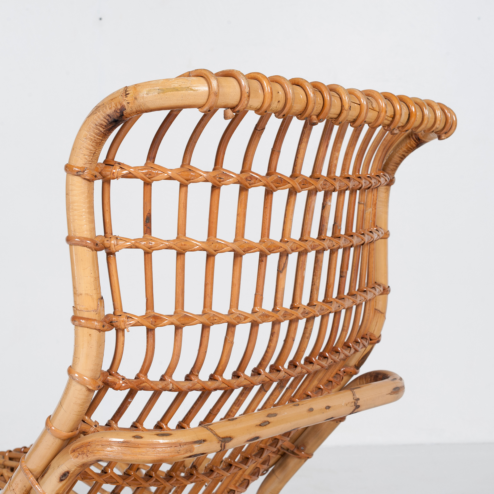Lounge Chair By Tito Agnoli In Cane, 1960s, Italy58