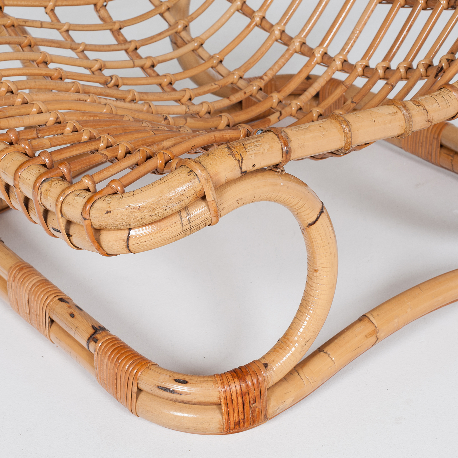 Lounge Chair By Tito Agnoli In Cane, 1960s, Italy60