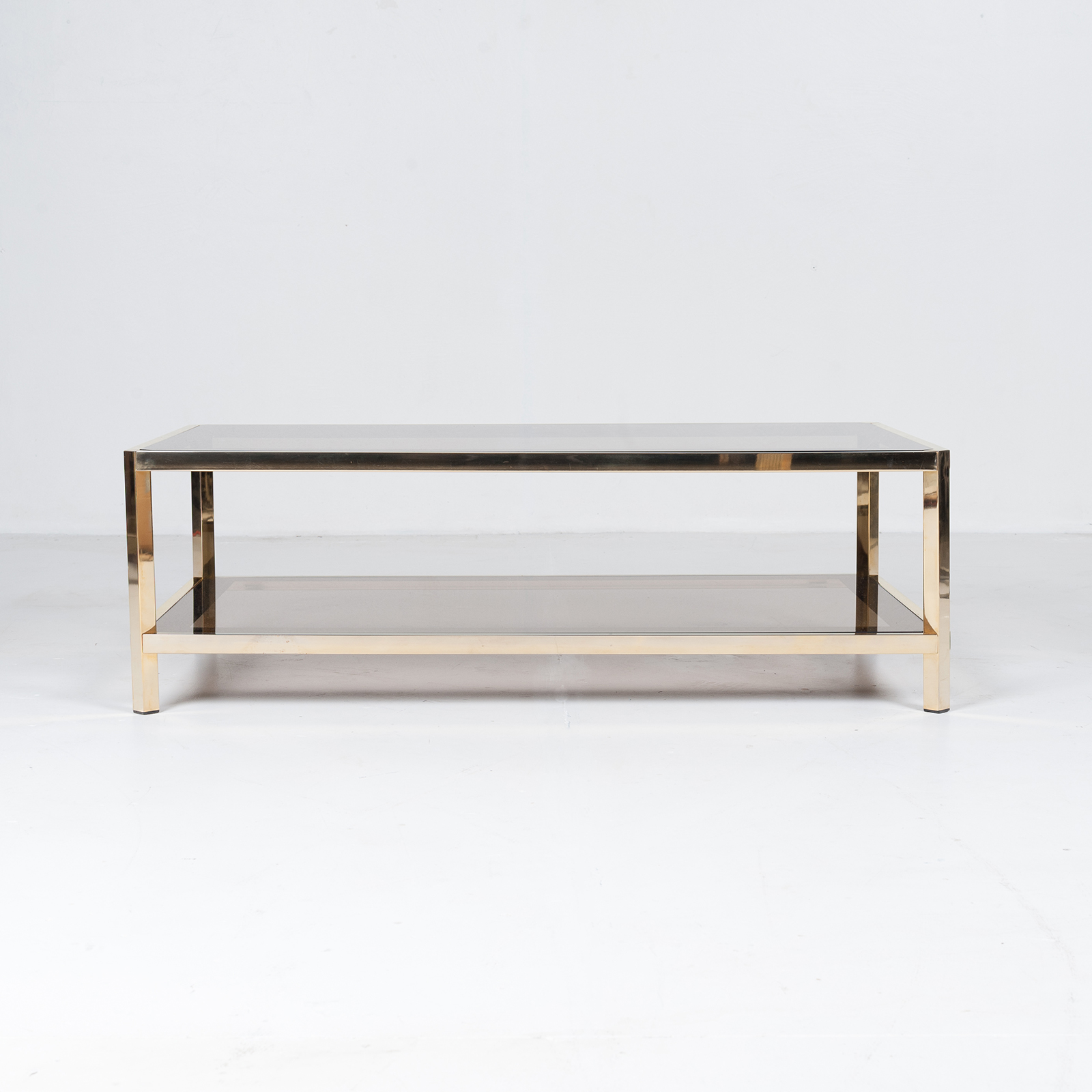 Rectangular Coffee Table By Pierre Cardin In Smoked Glass And Brass, 1960s, France17