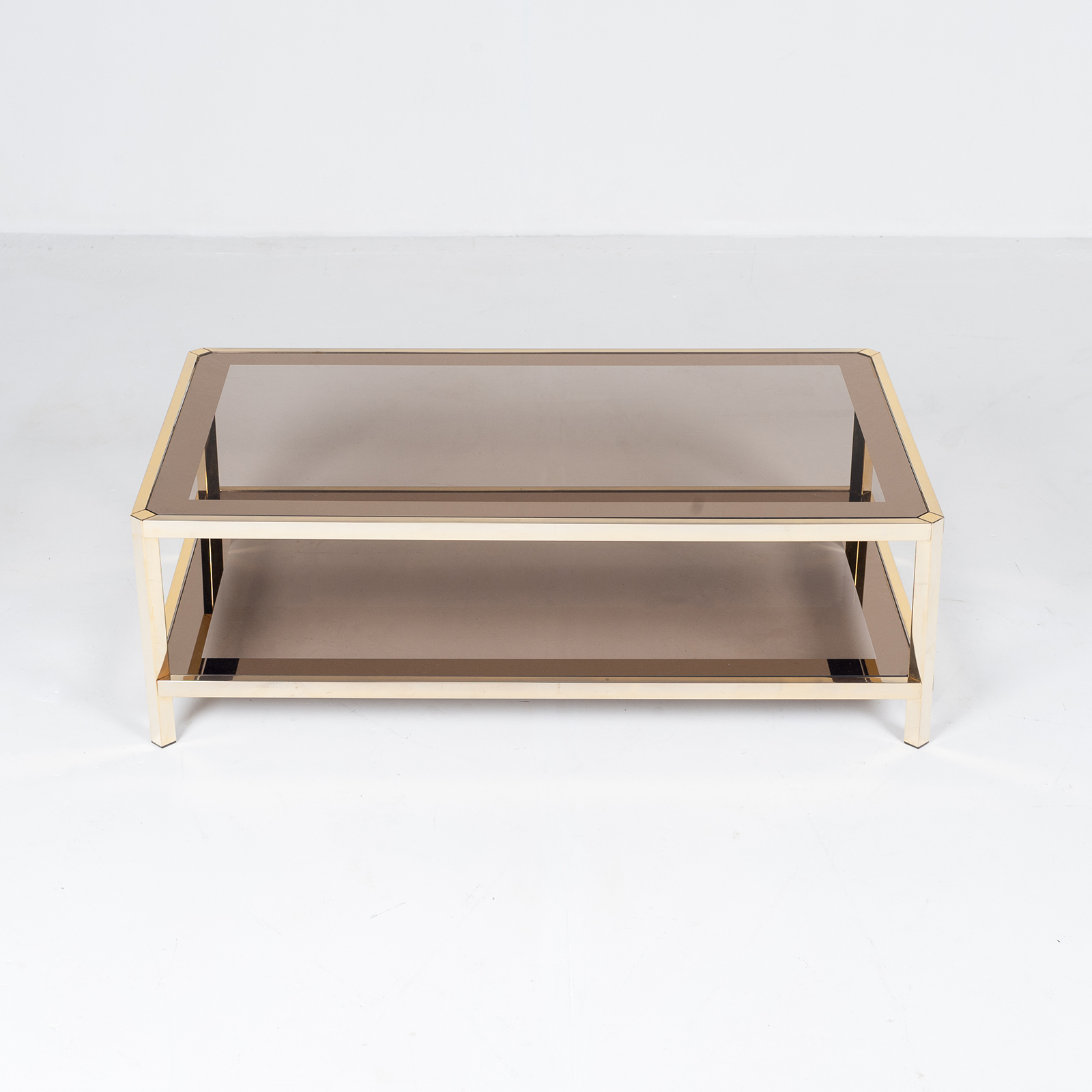 Rectangular Coffee Table By Pierre Cardin In Smoked Glass And Brass, 1960s, France18