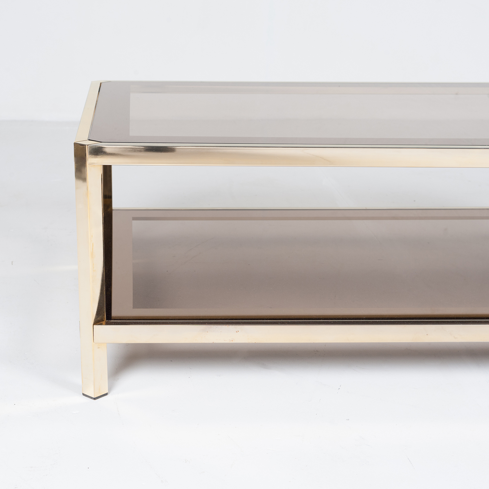 Rectangular Coffee Table By Pierre Cardin In Smoked Glass And Brass, 1960s, France20