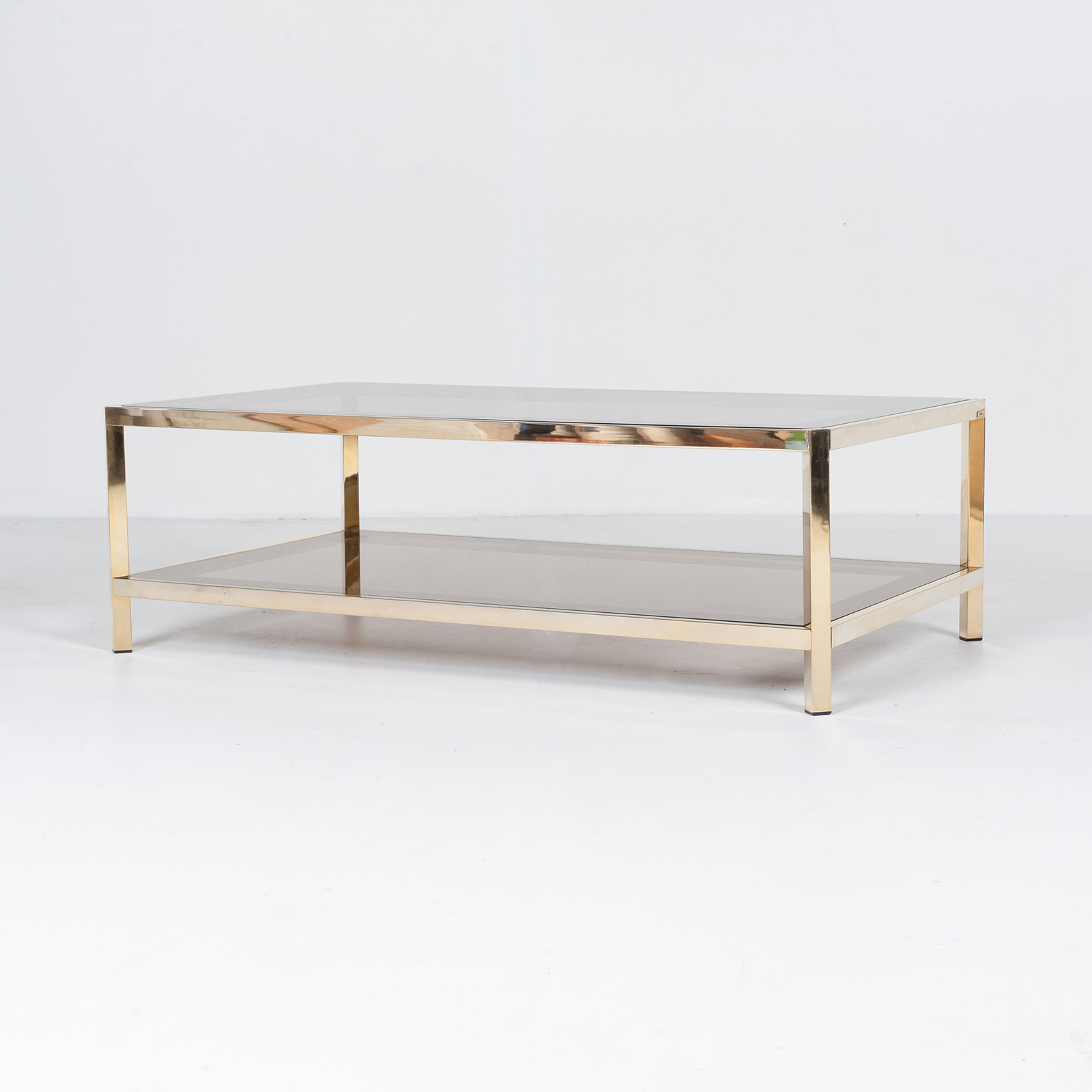 Rectangular Coffee Table By Pierre Cardin In Smoked Glass And Brass, 1960s, France21