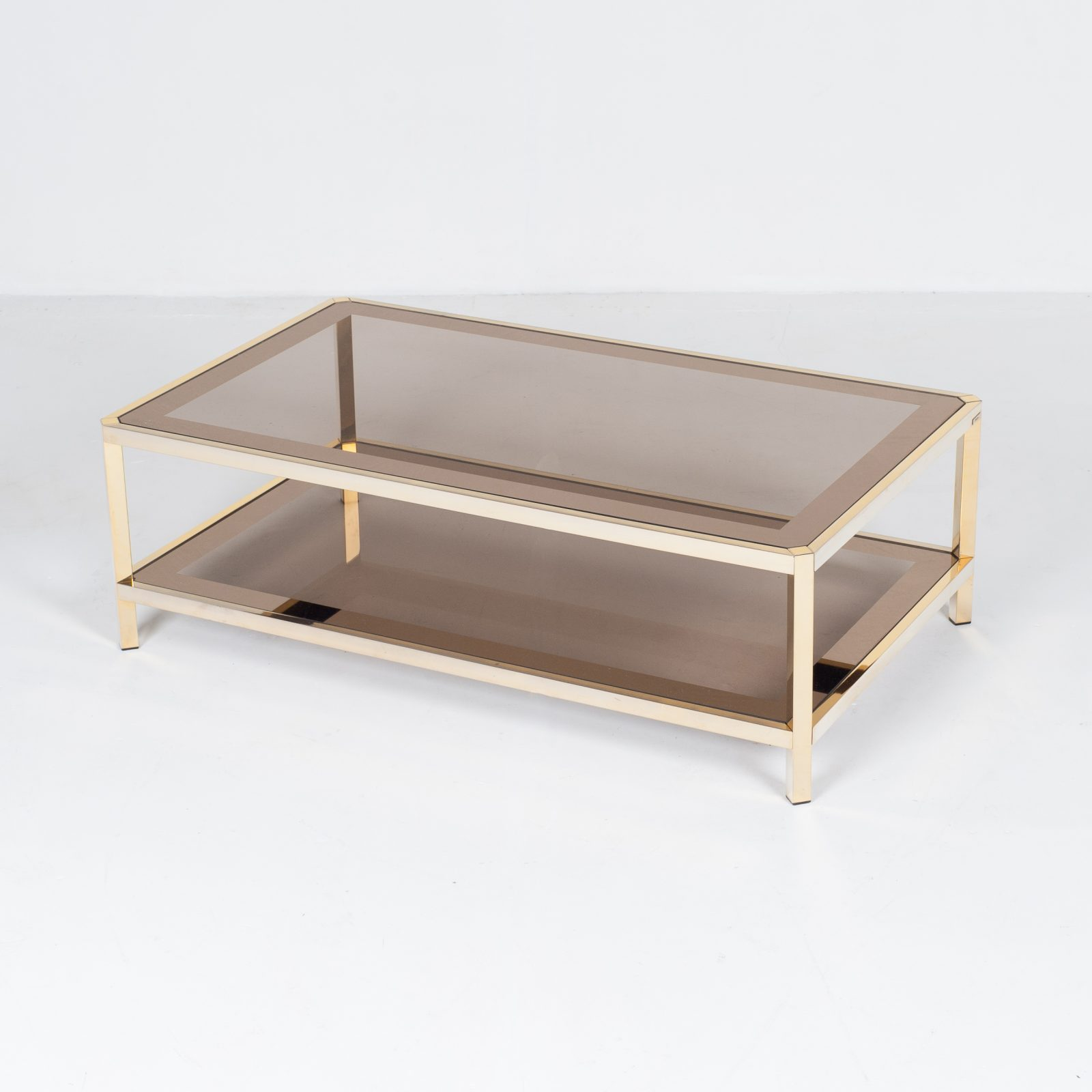 Rectangular Coffee Table By Pierre Cardin In Smoked Glass And Brass, 1960s, France22