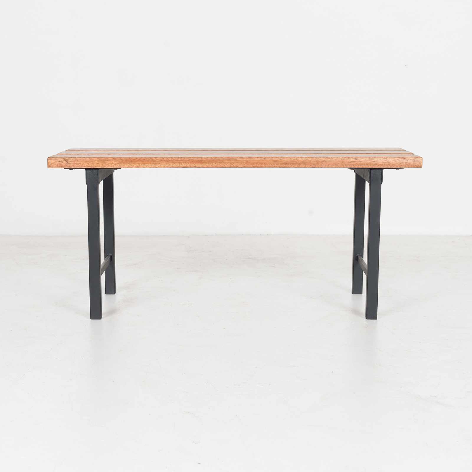 Two Seat Timber And Steel Bench, 1960s, The Netherlands47
