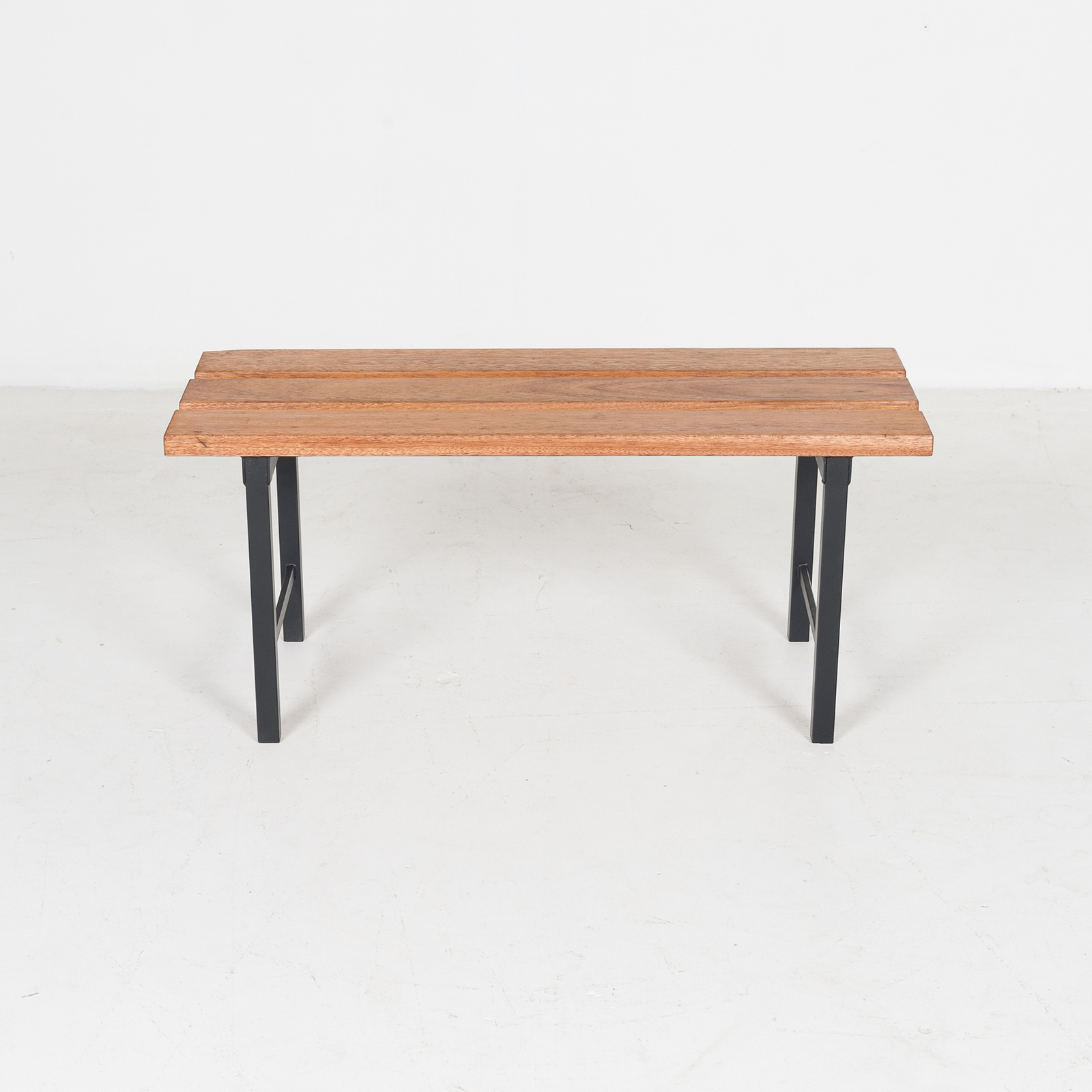 Two Seat Timber And Steel Bench, 1960s, The Netherlands49