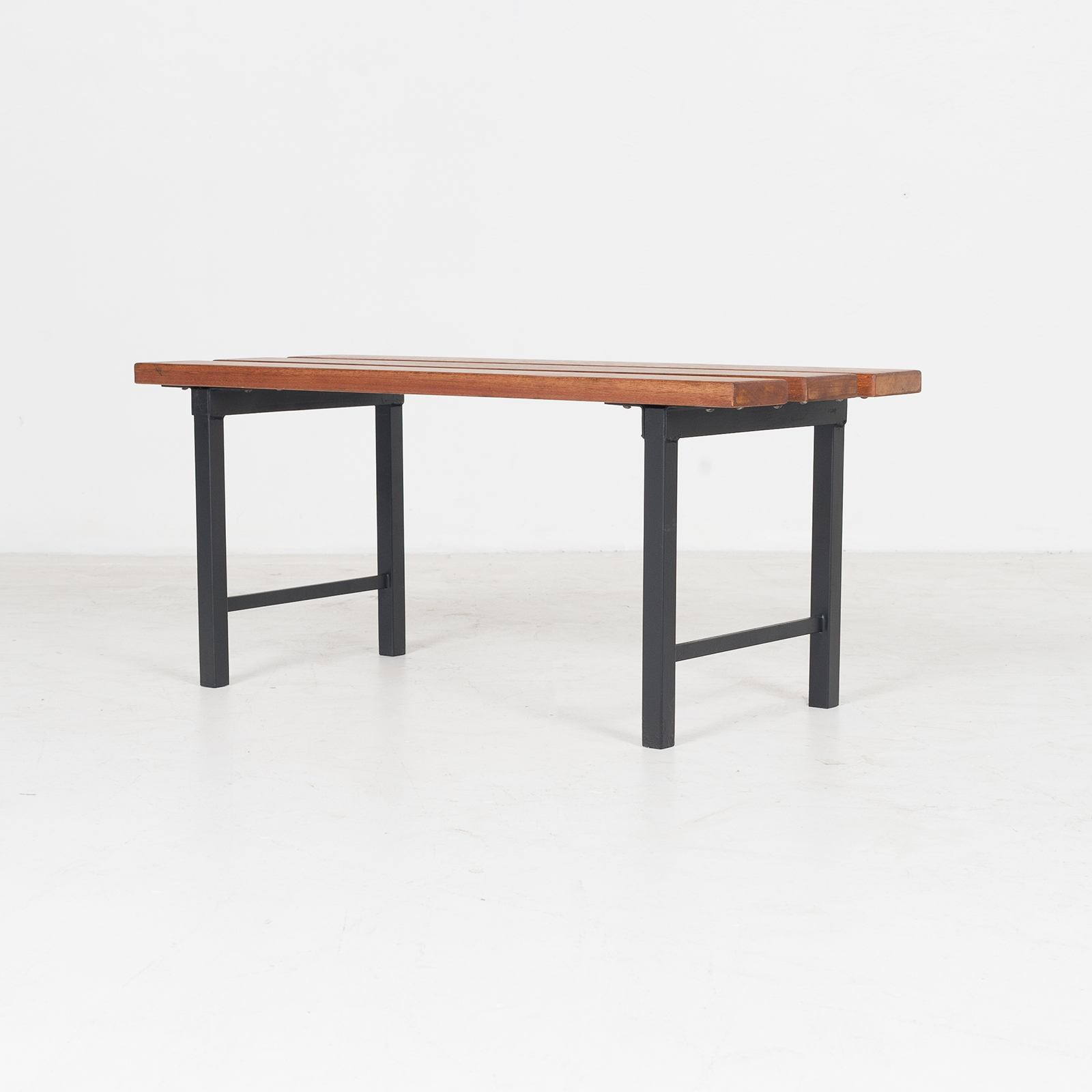 Two Seat Timber And Steel Bench, 1960s, The Netherlands50