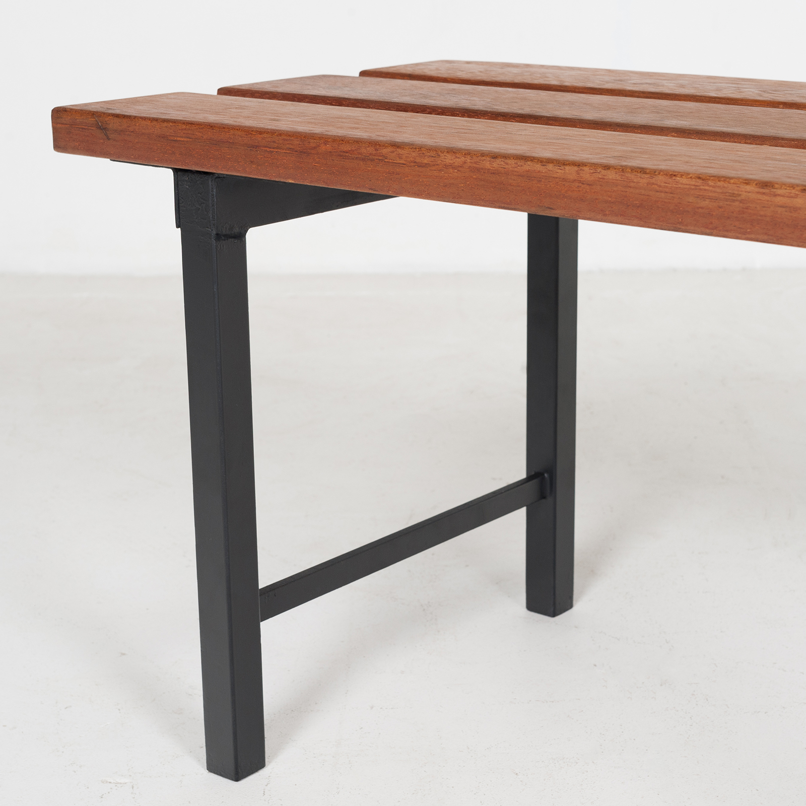 Two Seat Timber And Steel Bench, 1960s, The Netherlands53