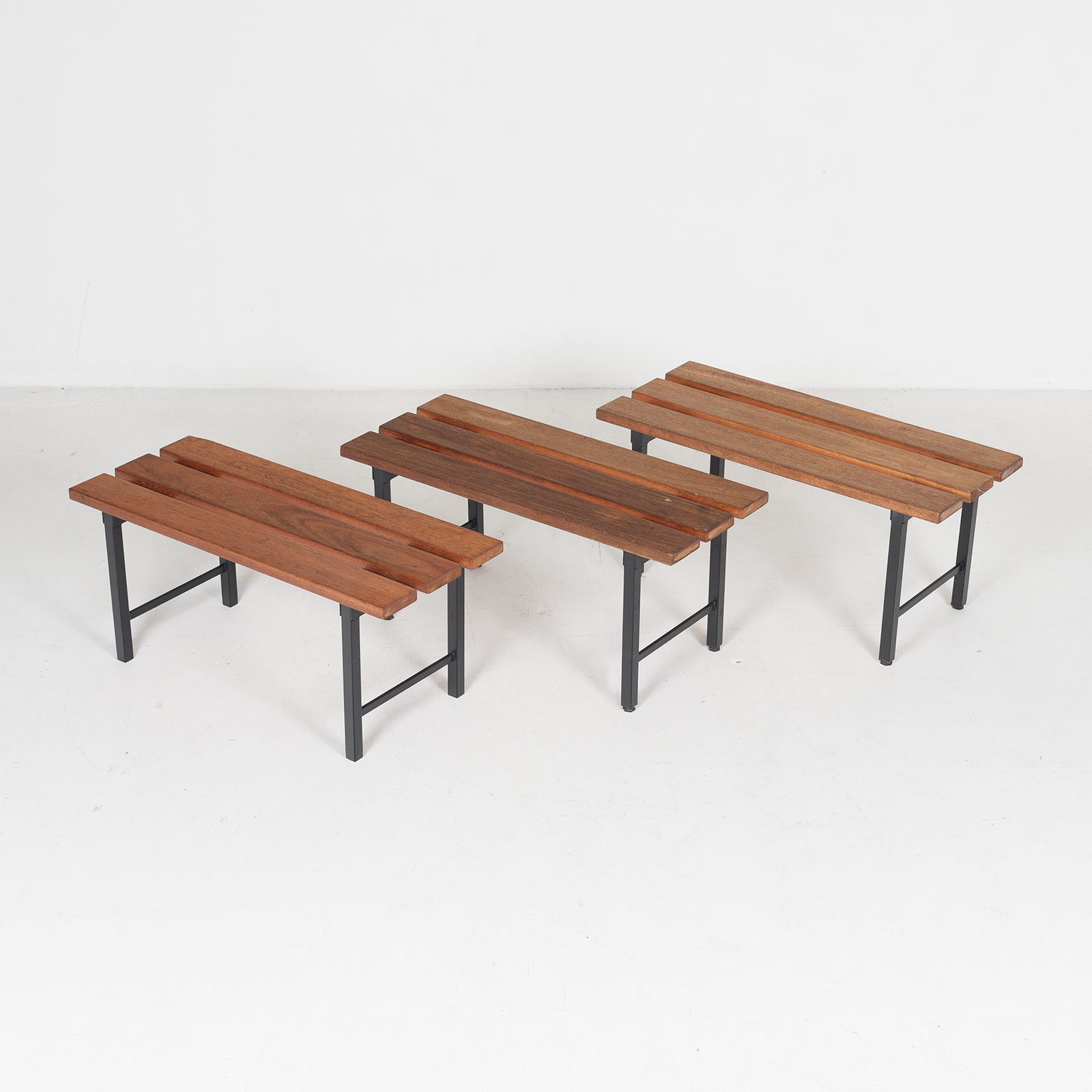 Two Seat Timber And Steel Bench, 1960s, The Netherlands54