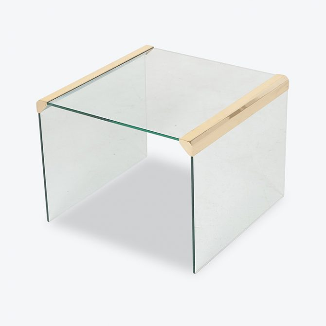 Waterfall Side Table By Pace In Glass And Anodised Brass, 1970s, United States Thumb