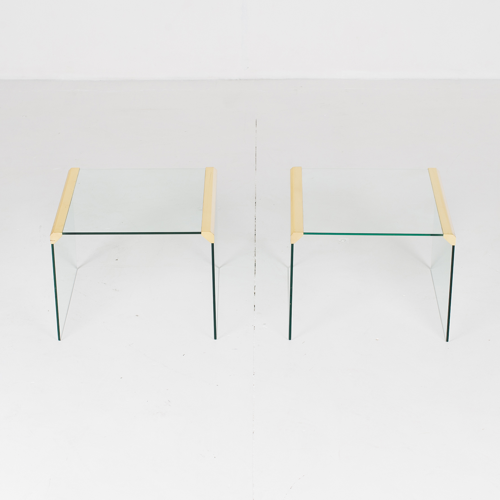 Waterfall Side Table By Pace In Glass And Anodised Brass, 1970s, United States11