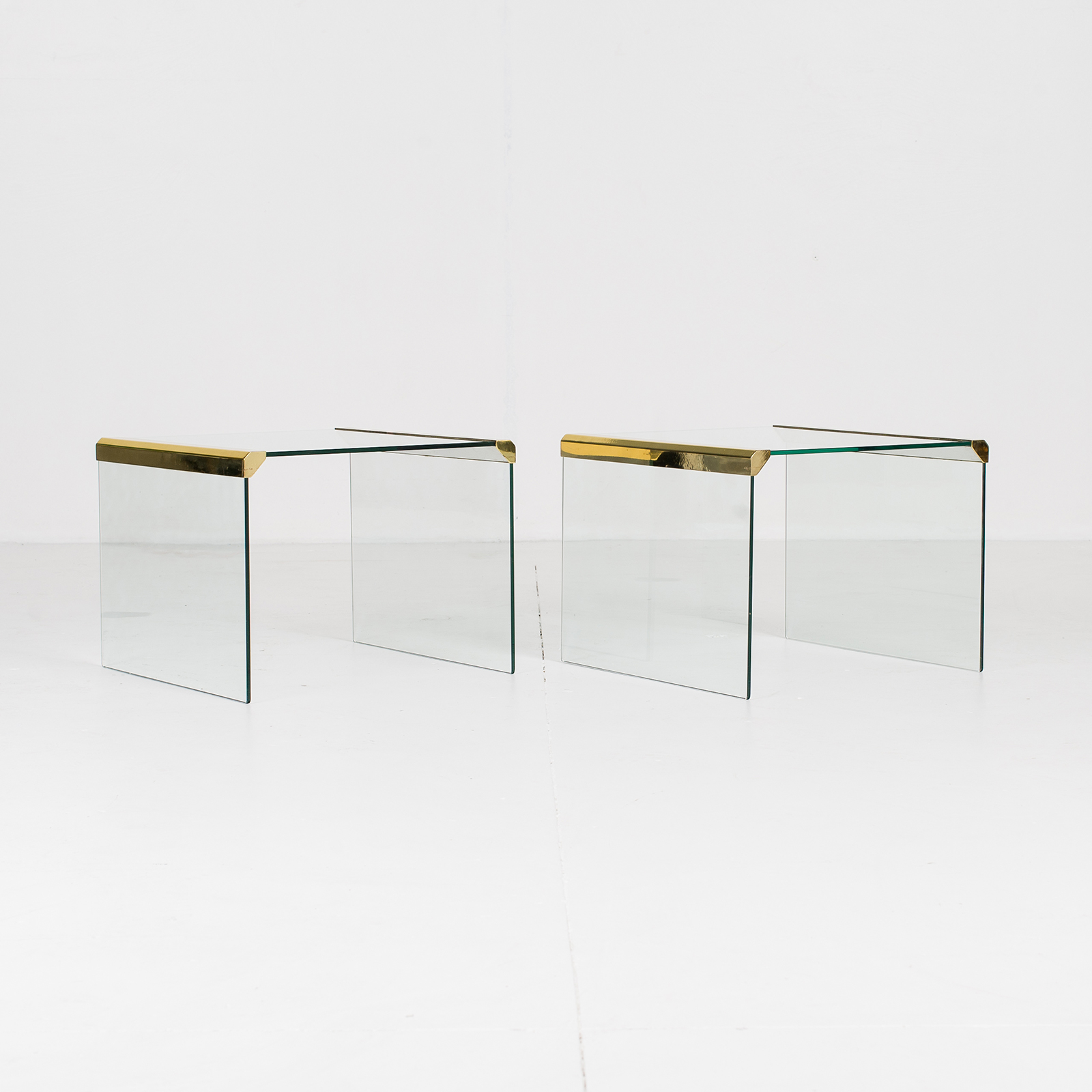 Waterfall Side Table By Pace In Glass And Anodised Brass, 1970s, United States12