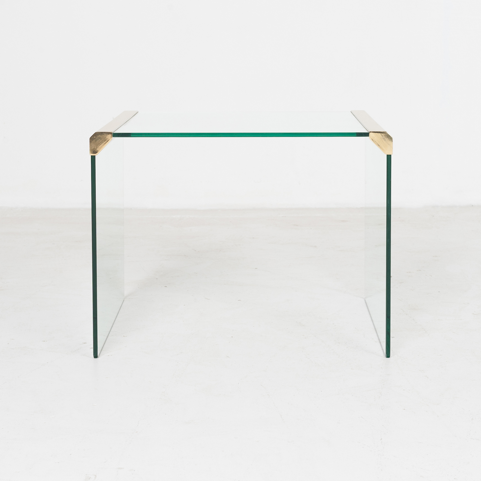 Waterfall Side Table By Pace In Glass And Anodised Brass, 1970s, United States898