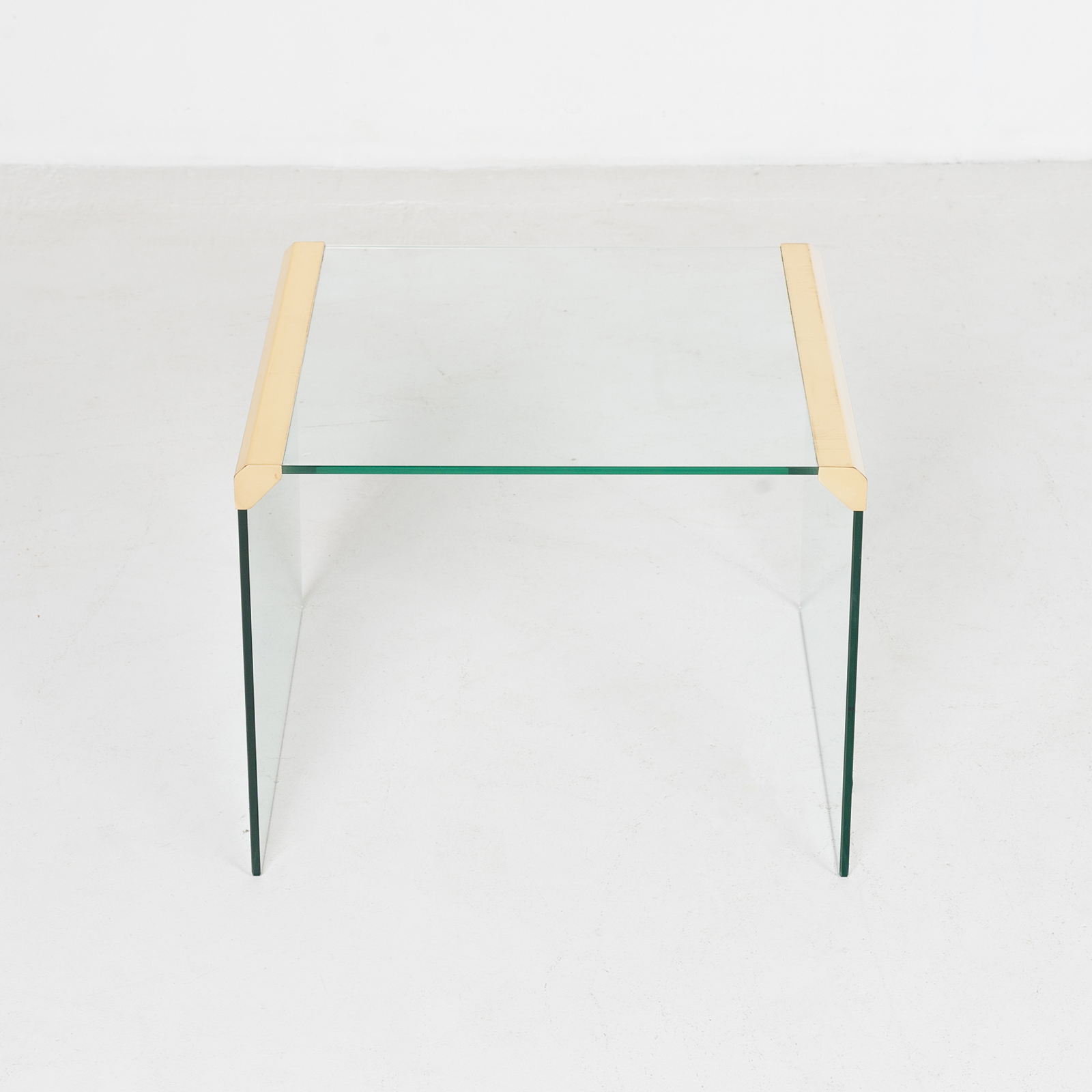 Waterfall Side Table By Pace In Glass And Anodised Brass, 1970s, United States899