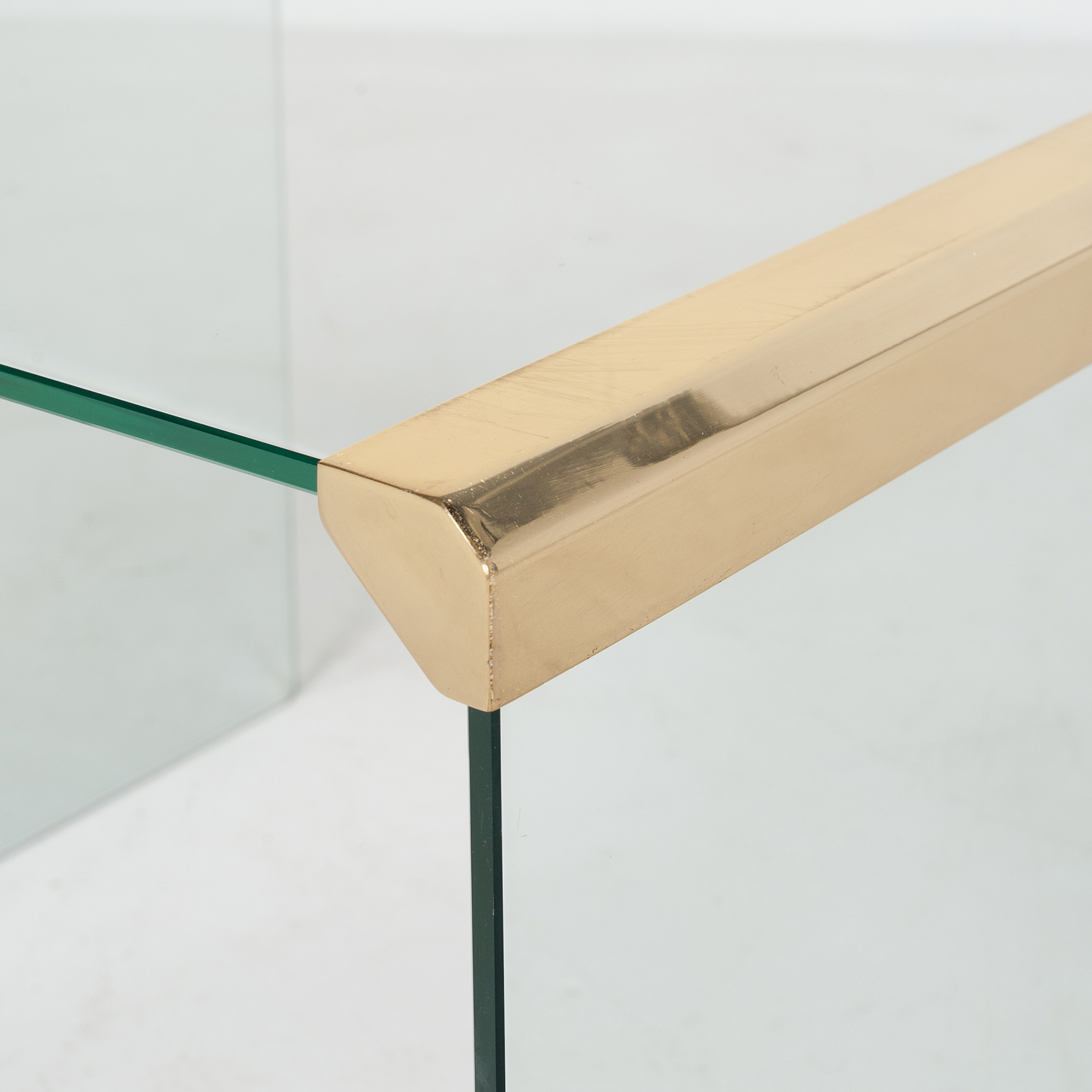 Waterfall Side Table By Pace In Glass And Anodised Brass, 1970s, United States901