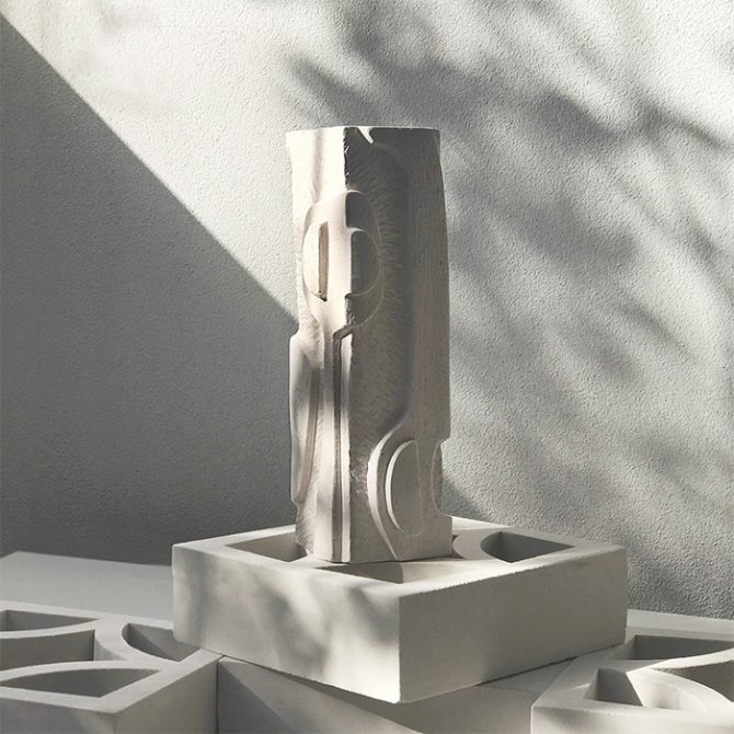 Abstract Relief Totem In White Sculpture Clay By Jan Vogelpoel Thumb