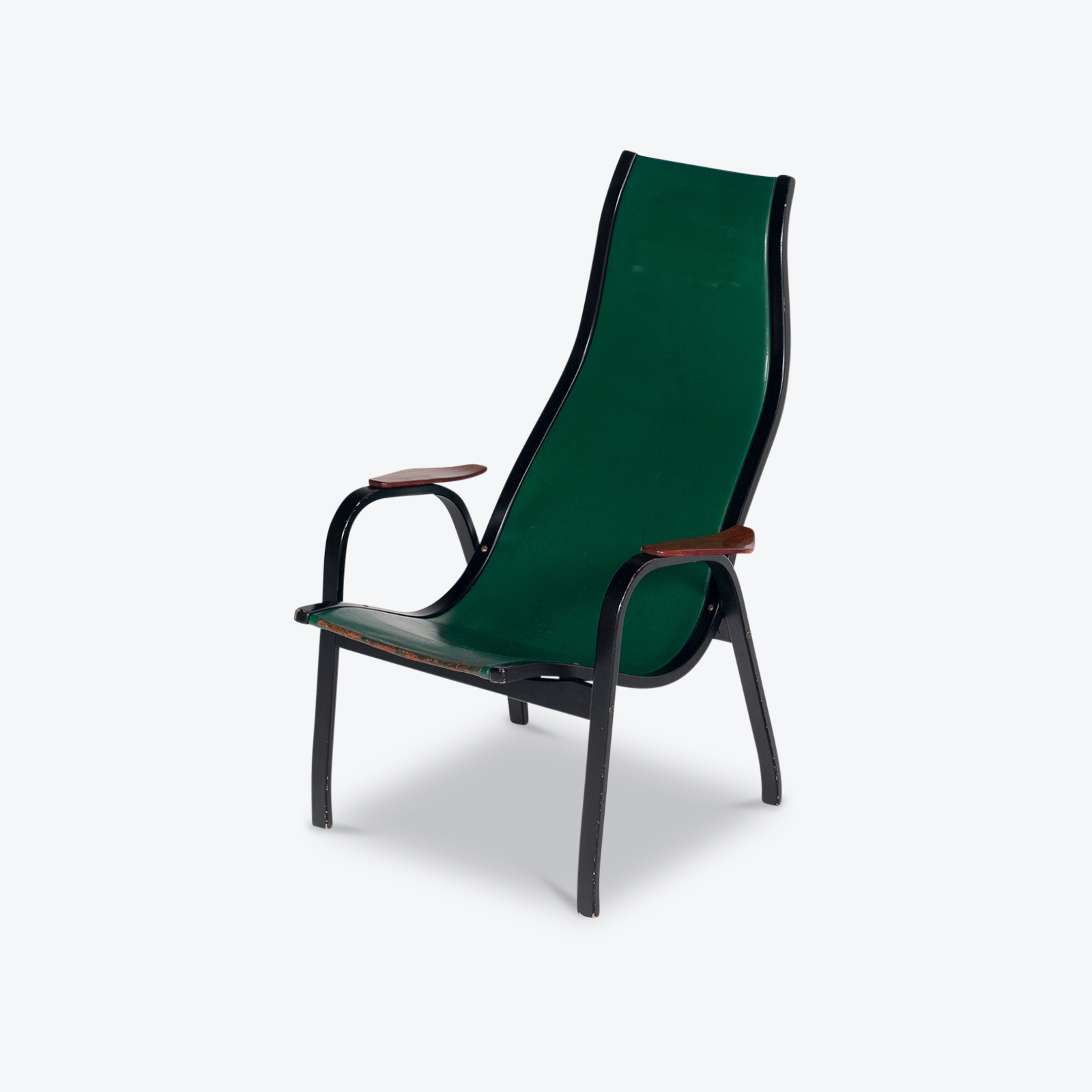 Kurva Lounge Chair By Yngve Ekstrom For Swedese In Green Leather, 1950s, Sweden Hero