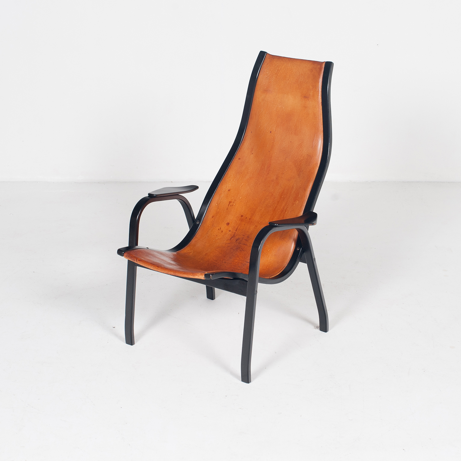 Kurva Lounge Chair By Yngve Ekstrom For Swedese In Tan Leather, 1950s, Sweden 33