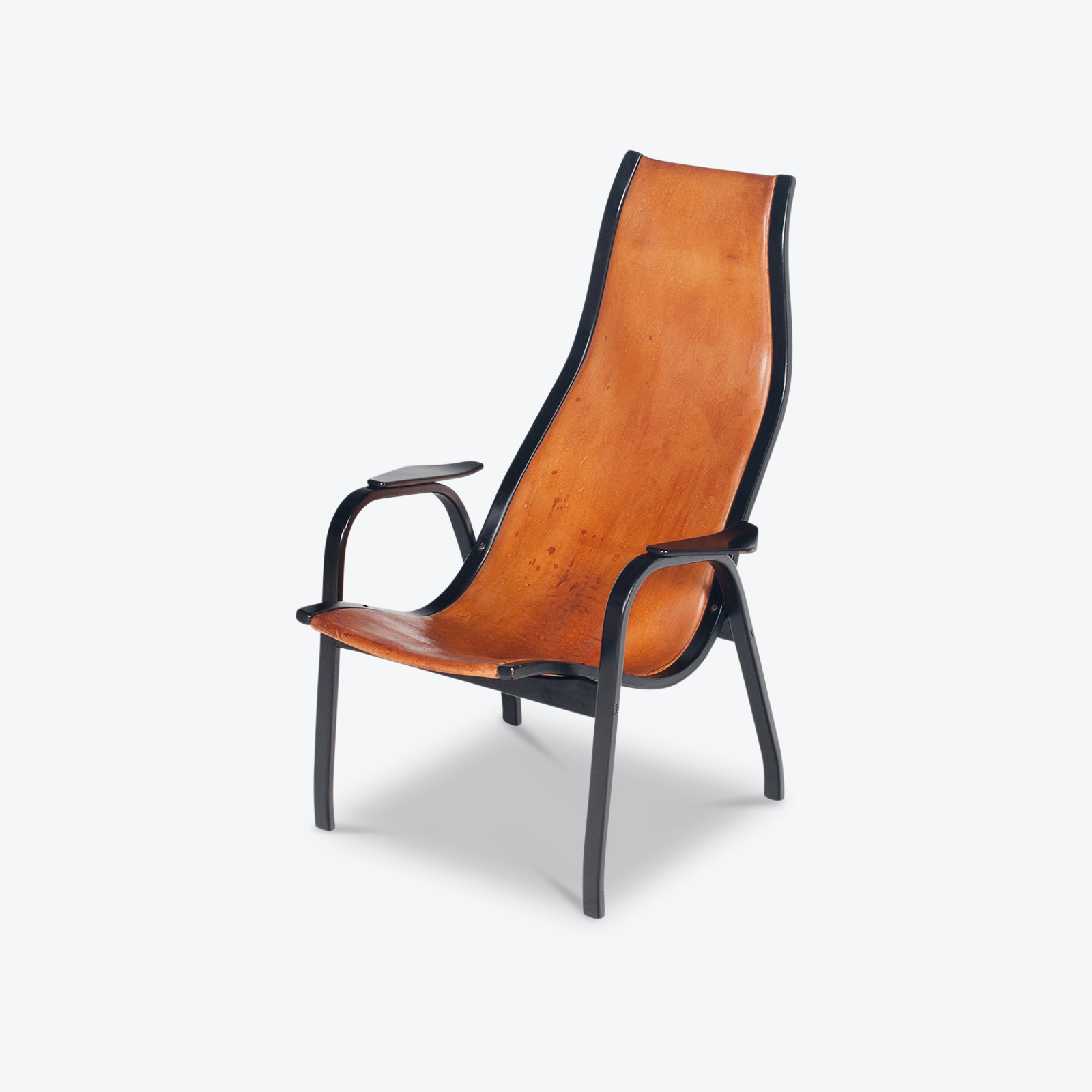 Kurva Lounge Chair By Yngve Ekstrom For Swedese In Tan Leather, 1950s, Sweden Hero