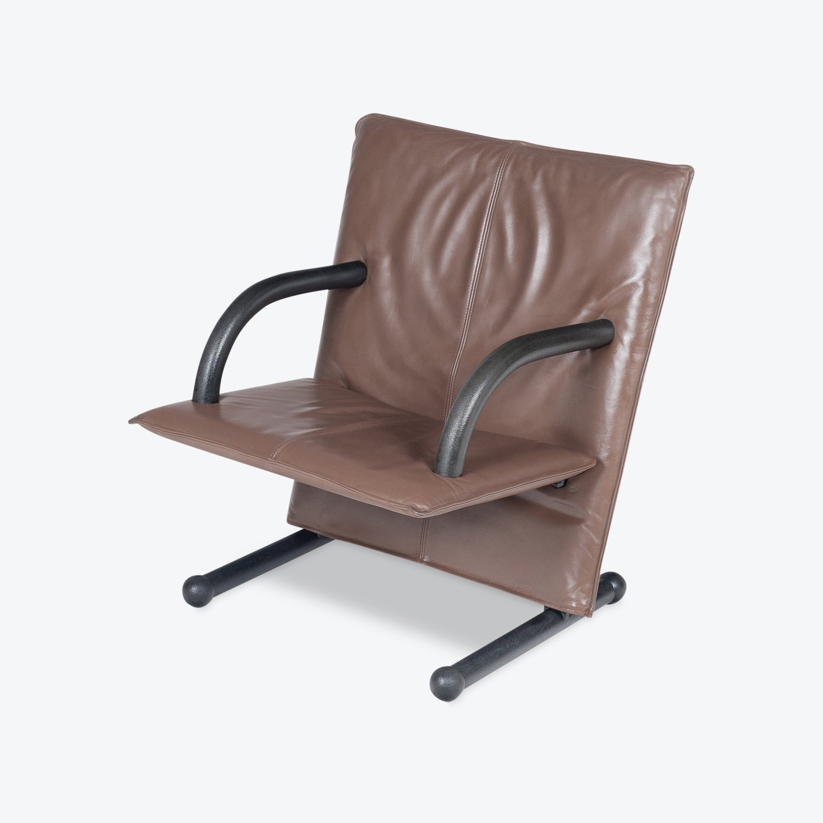 Model T Line Chair In By Burkhard Vogtherr For Arflex In Brown Leather, 1980s, Italy Hero