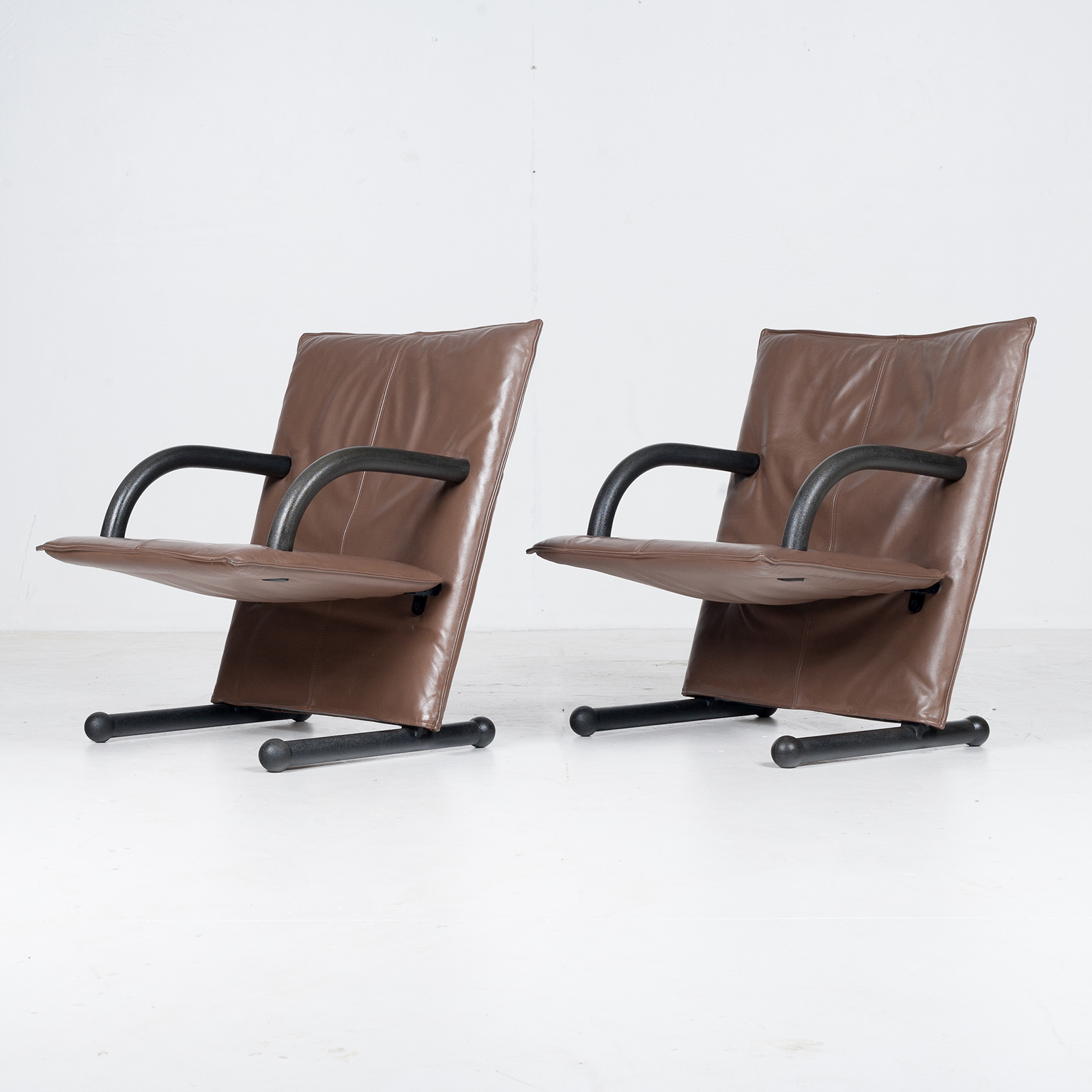 Model T Line Chair In By Burkhard Vogtherr For Arflex In Brown Leather, 1980s, Italy73