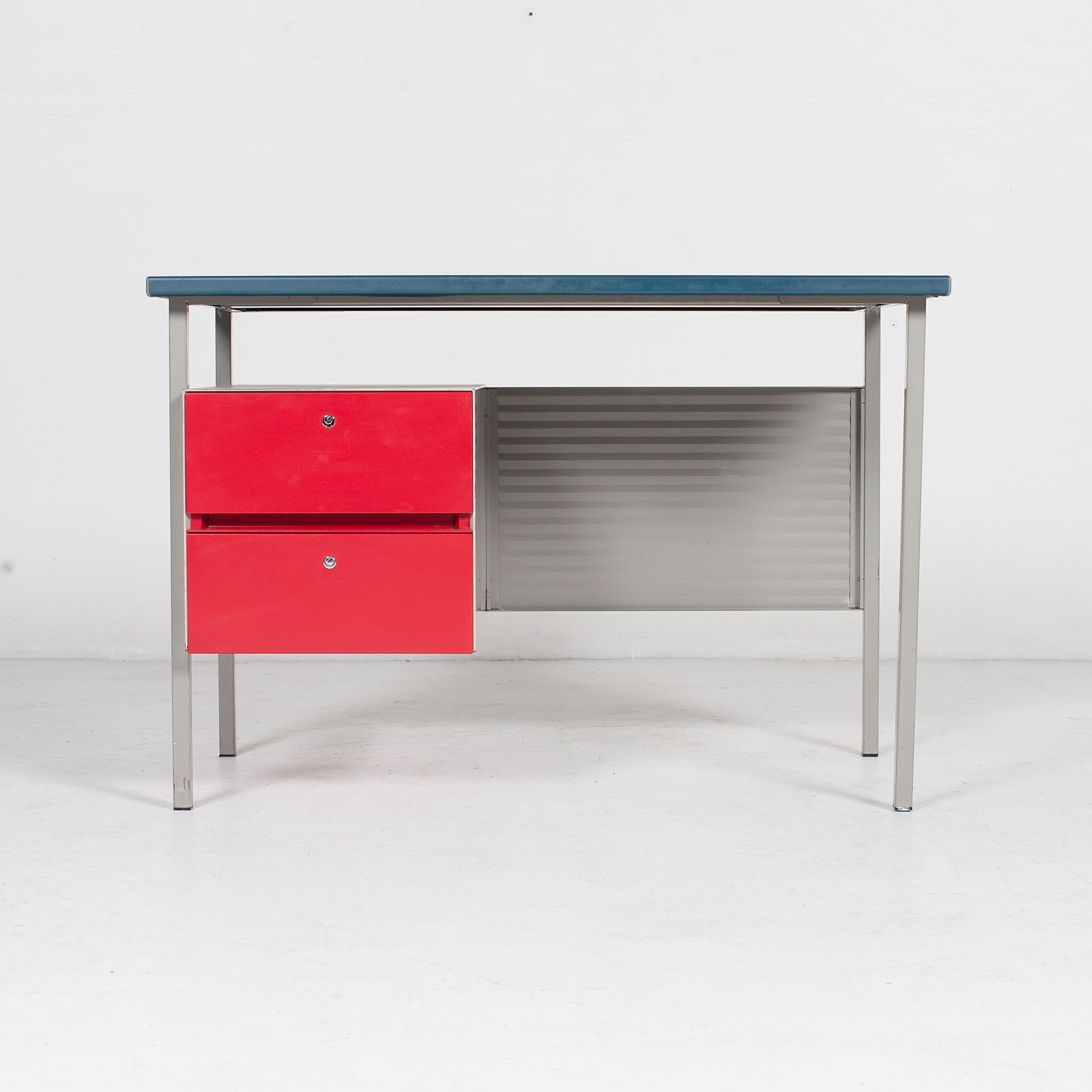 3803 Industrial Desk By Andre Cordemeyer For Gispen With Blue Vinyl Top And Red Enamelled Drawers, 1950s, The Netherlands 44