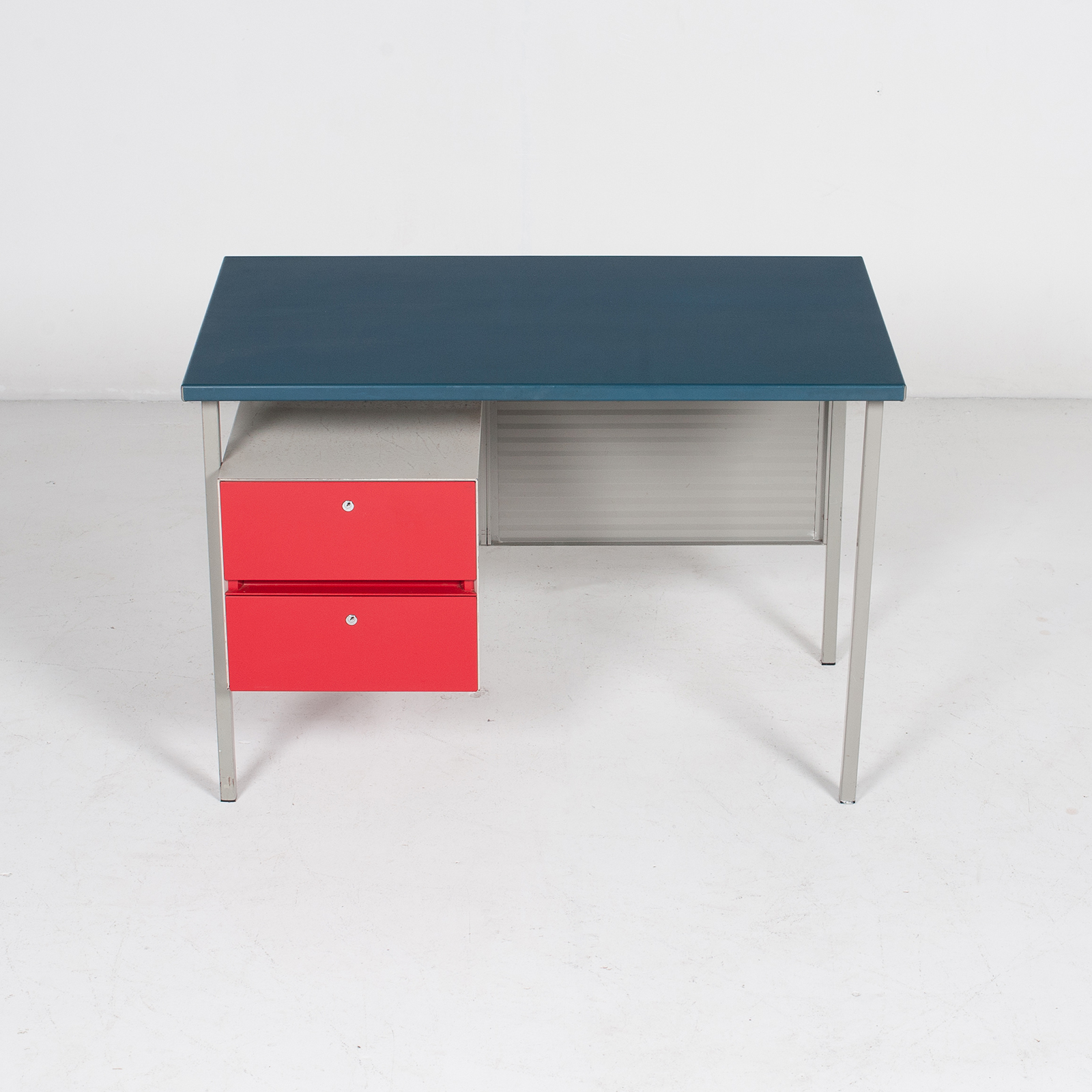3803 Industrial Desk By Andre Cordemeyer For Gispen With Blue Vinyl Top And Red Enamelled Drawers, 1950s, The Netherlands 46