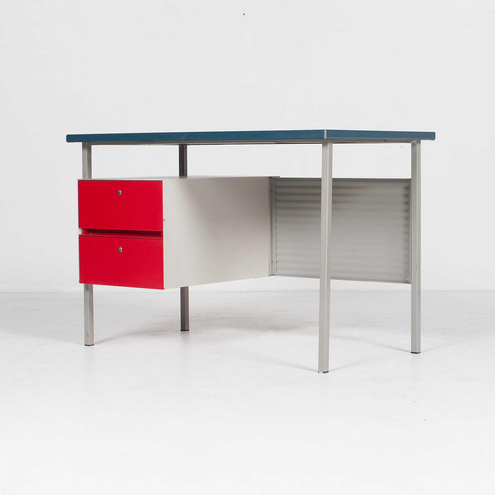 3803 Industrial Desk By Andre Cordemeyer For Gispen With Blue Vinyl Top And Red Enamelled Drawers, 1950s, The Netherlands 48