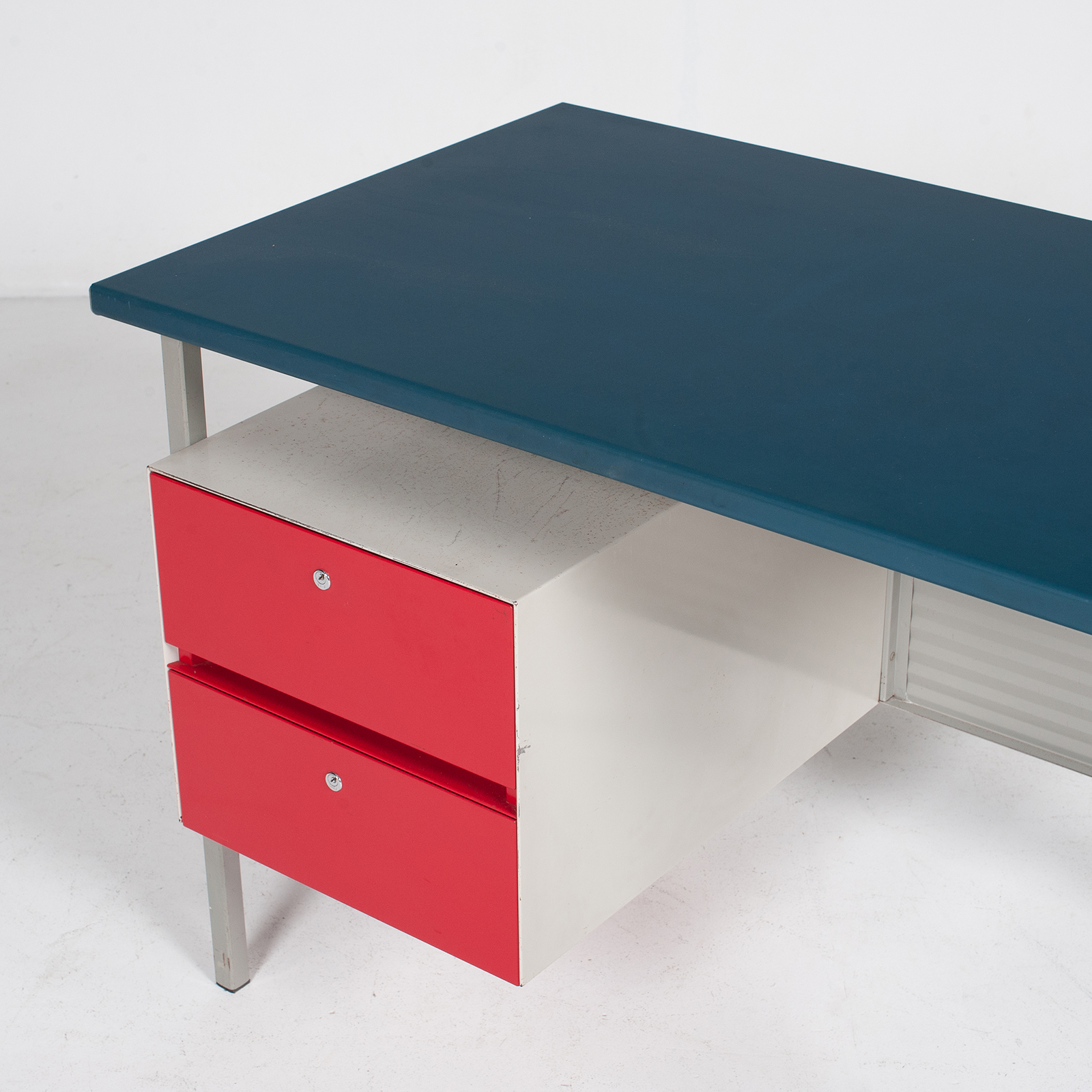 3803 Industrial Desk By Andre Cordemeyer For Gispen With Blue Vinyl Top And Red Enamelled Drawers, 1950s, The Netherlands 49
