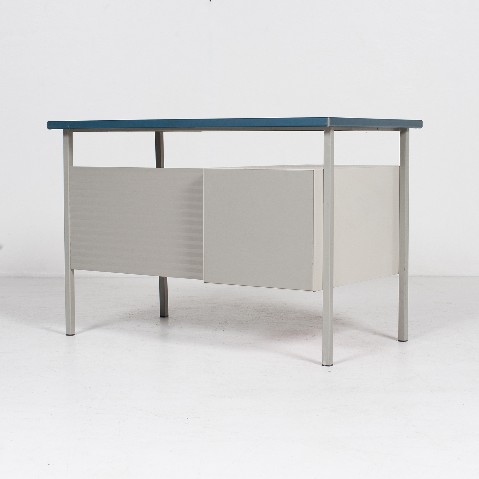 3803 Industrial Desk By Andre Cordemeyer For Gispen With Blue Vinyl Top And Red Enamelled Drawers, 1950s, The Netherlands 50