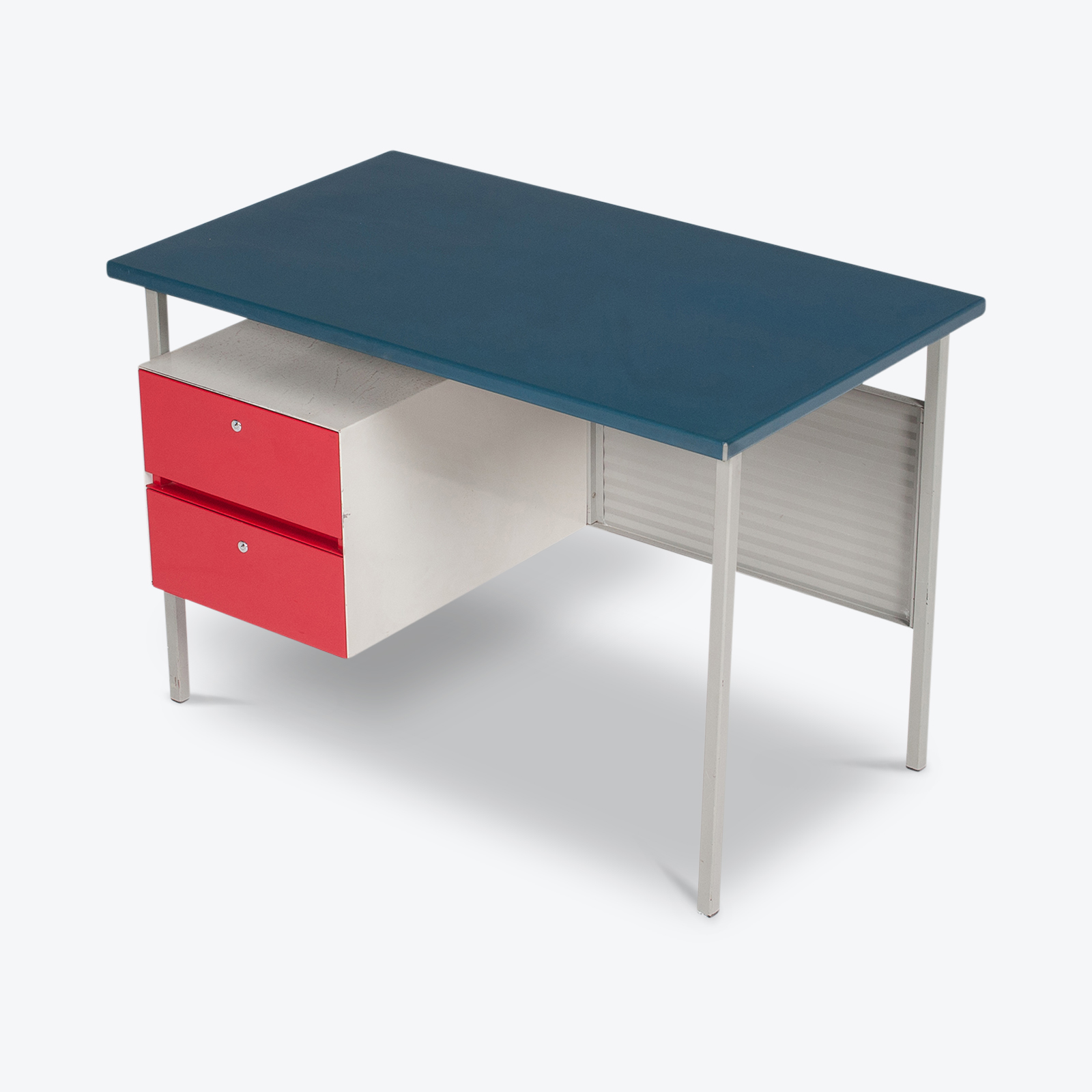 3803 Industrial Desk By Andre Cordemeyer For Gispen With Blue Vinyl Top And Red Enamelled Drawers, 1950s, The Netherlands Hero