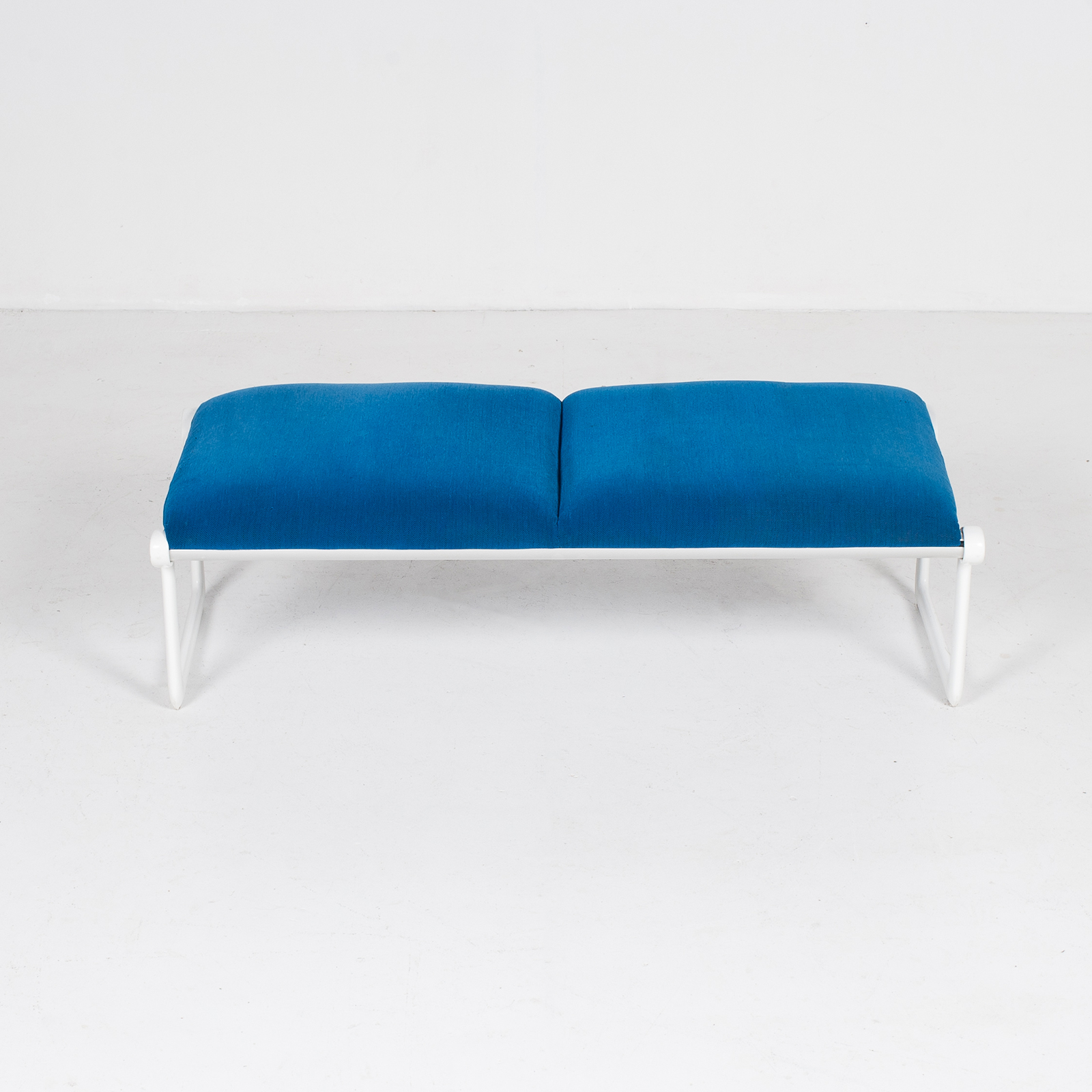 Bench By Bruce Hannah And Andrew Morrison For Knoll With Blue Upholstery, 1960s, United States 1