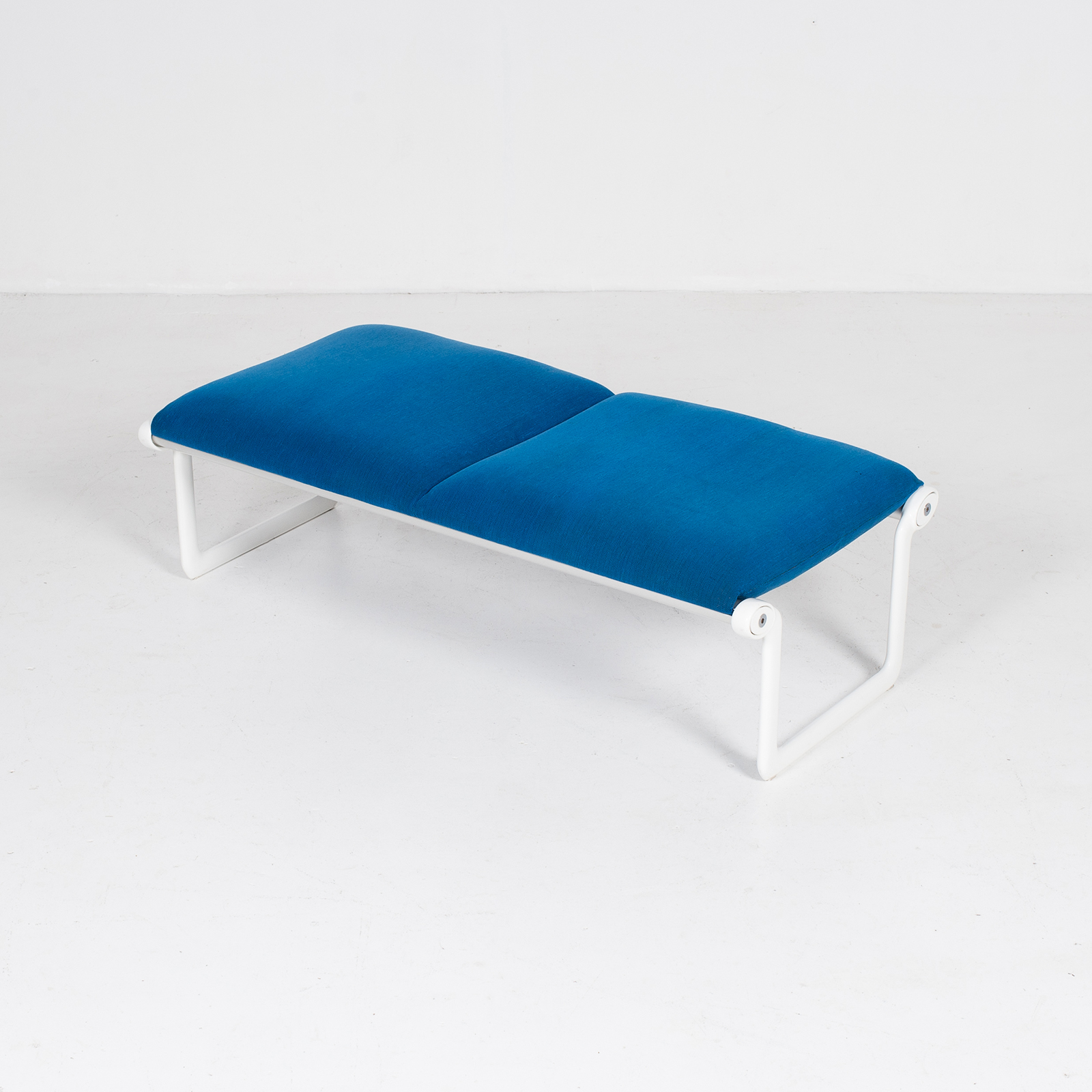 Bench By Bruce Hannah And Andrew Morrison For Knoll With Blue Upholstery, 1960s, United States 3