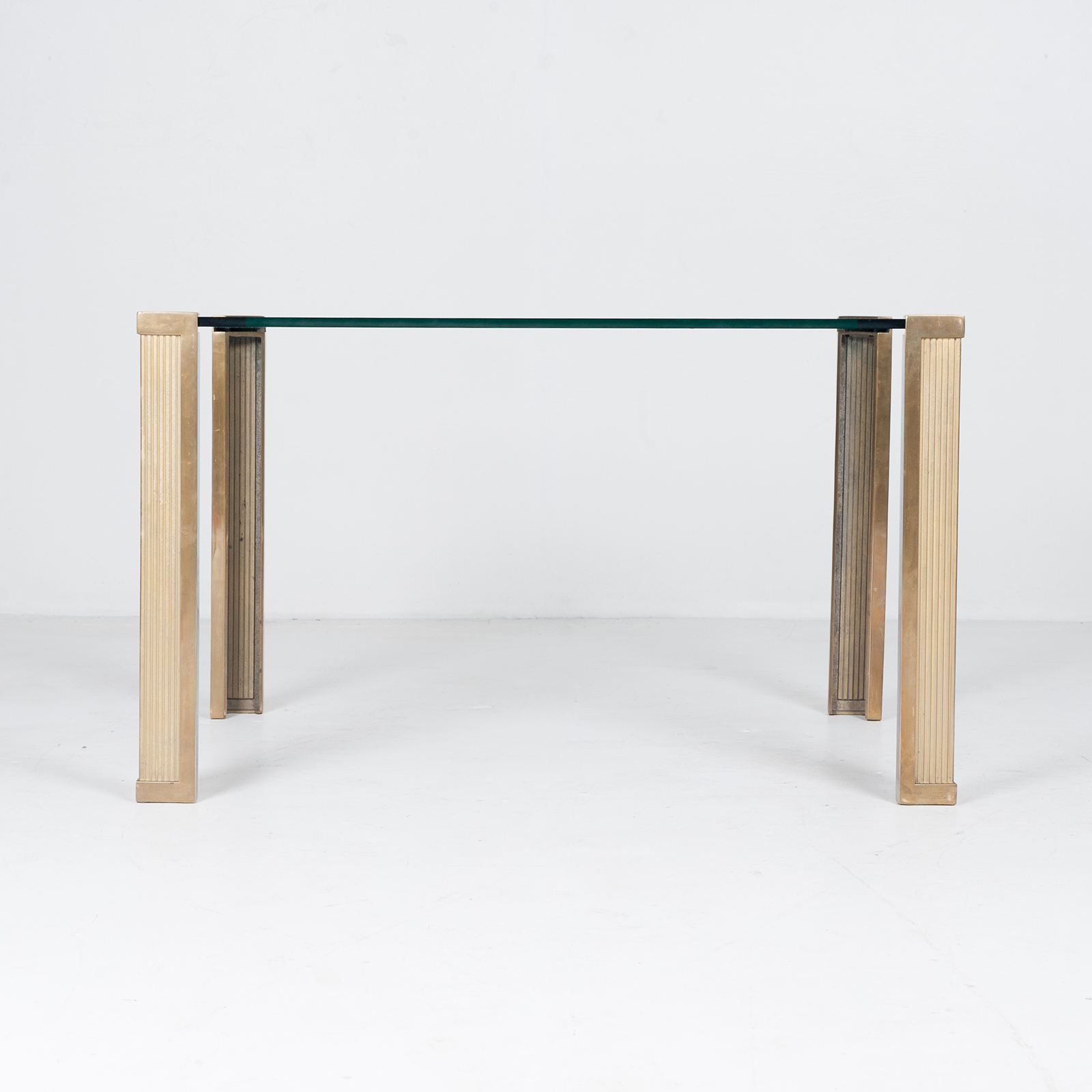 Dining Table With Solid Brass Cast Legs And Glass Top By Peter Ghyczy, 1970s, The Netherlands 86
