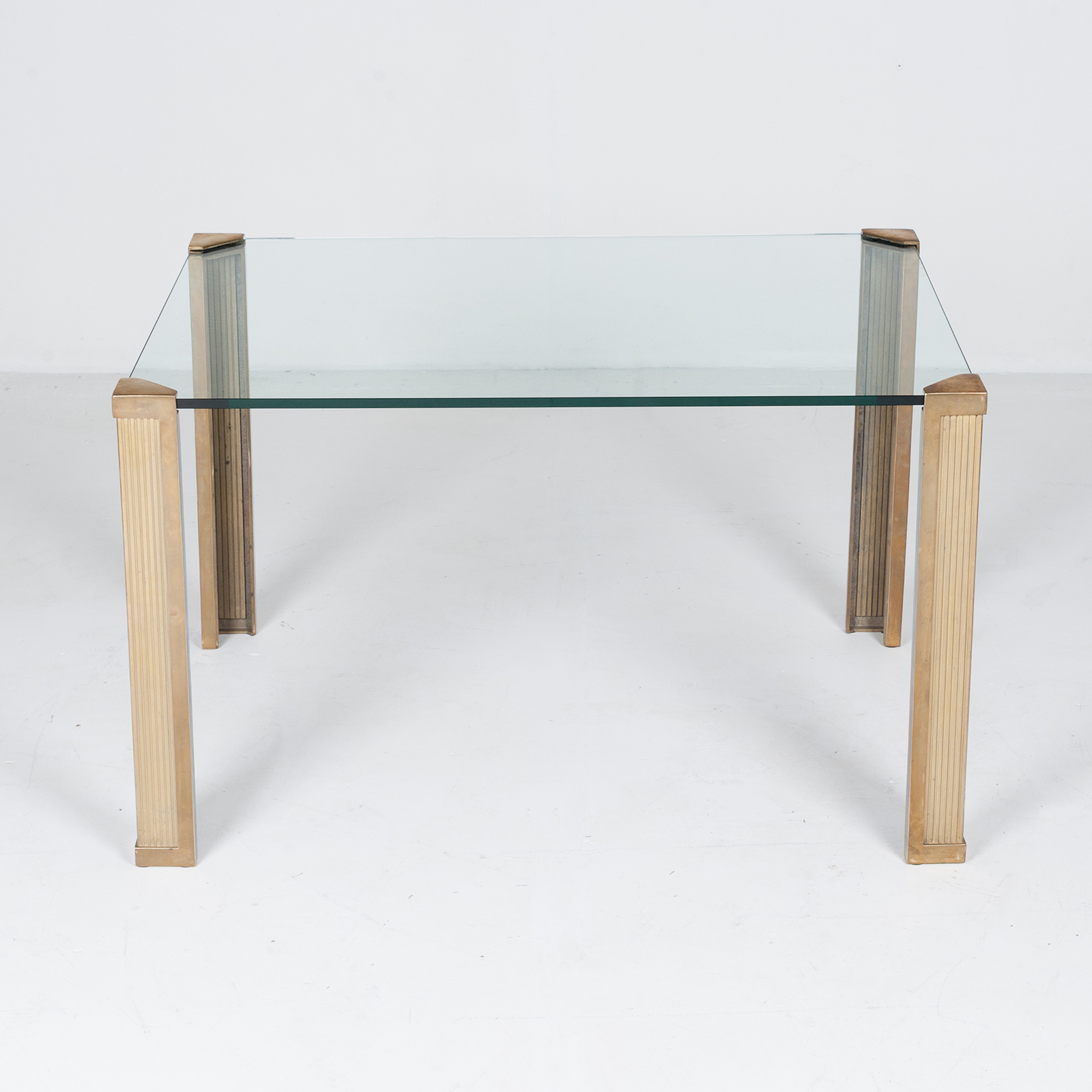 Dining Table With Solid Brass Cast Legs And Glass Top By Peter Ghyczy, 1970s, The Netherlands 88