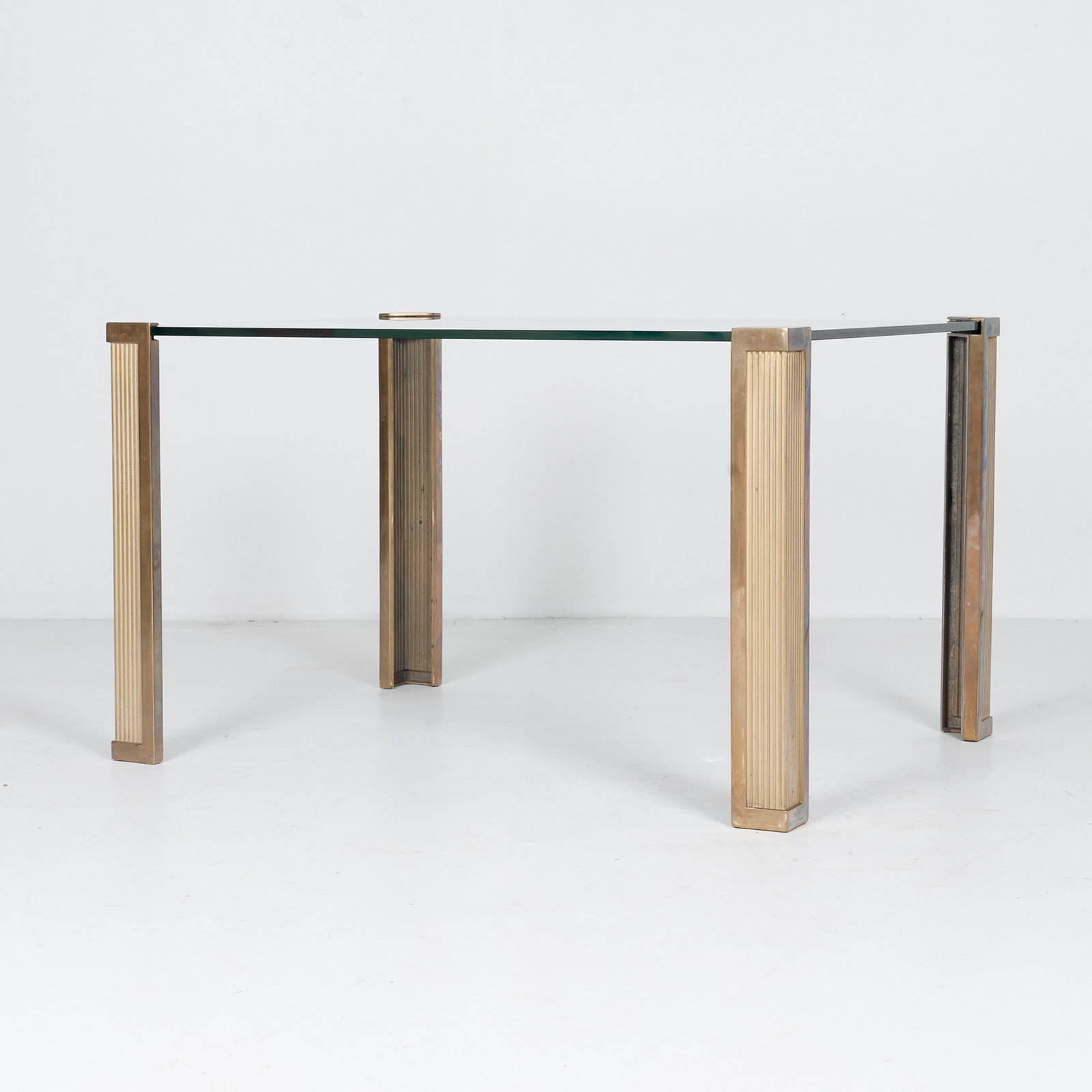 Dining Table With Solid Brass Cast Legs And Glass Top By Peter Ghyczy, 1970s, The Netherlands 89