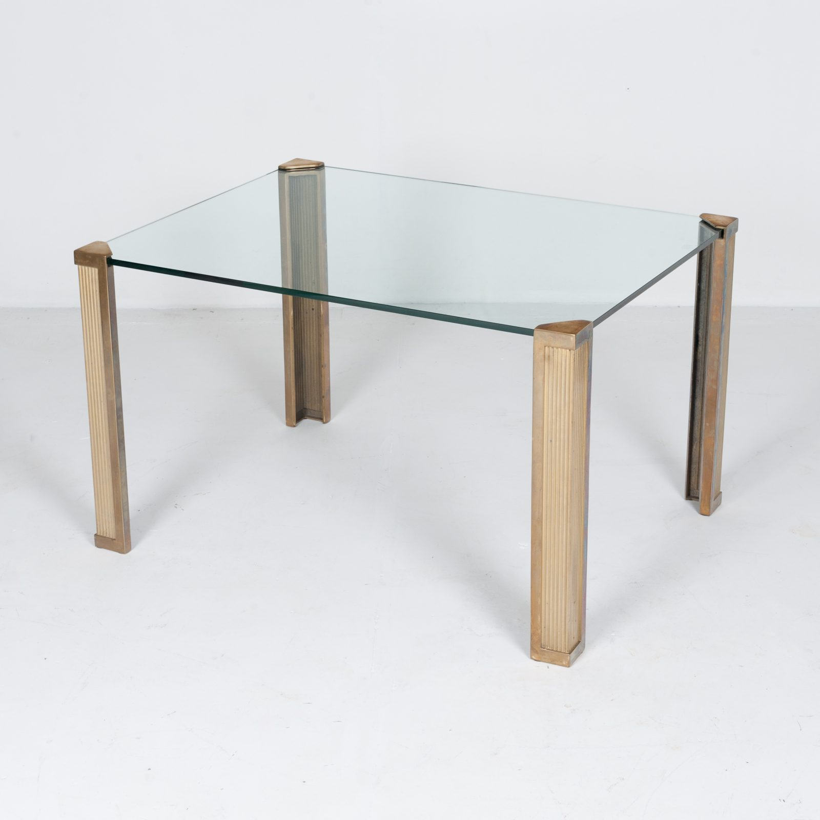 Dining Table With Solid Brass Cast Legs And Glass Top By Peter Ghyczy, 1970s, The Netherlands 90