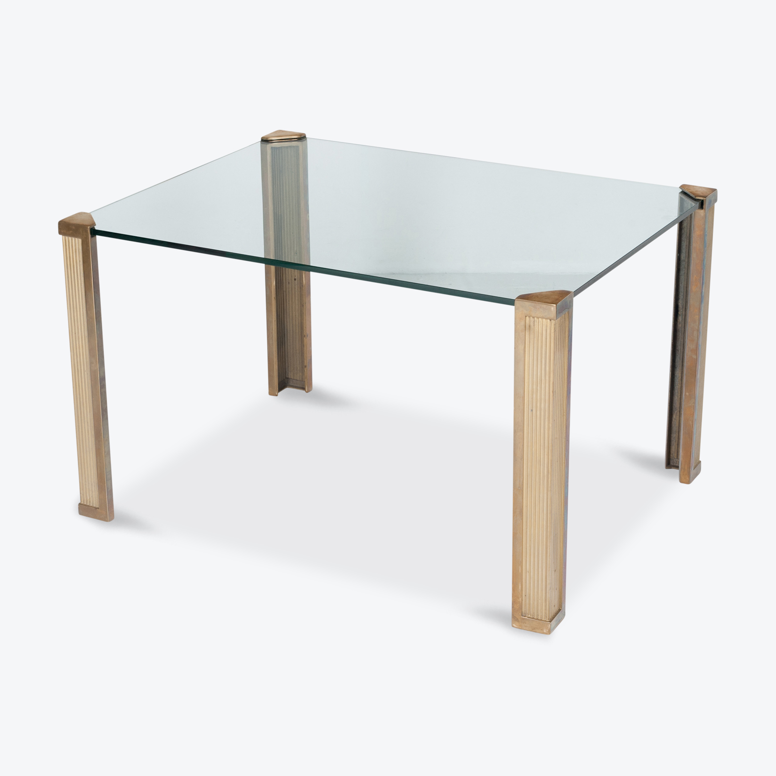 Dining Table With Solid Brass Cast Legs And Glass Top By Peter Ghyczy, 1970s, The Netherlands Hero