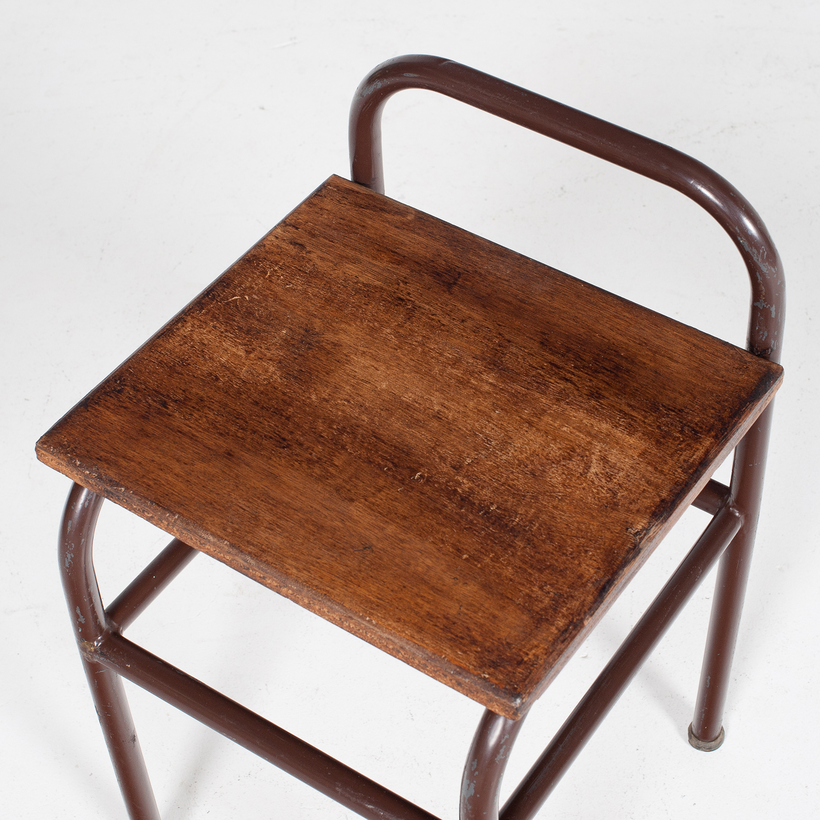 Industrial Stool With Timber Seat, Belgium Mt Stl 194 2602 Be Set 2 Of 2 82
