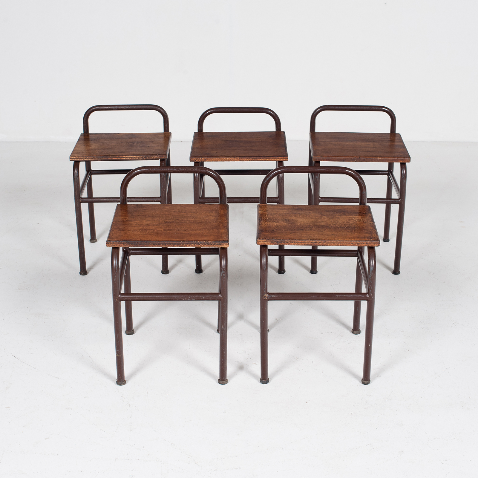 Industrial Stool With Timber Seat, Belgium Mt Stl 194 2602 Be Set 2 Of 2 83