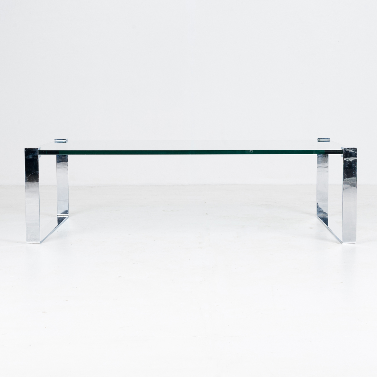 Model K 831 Rectangular Coffee Table With Glass And Polished Chrome By Friedrich Wilhelm Moller For Ronald Schmitt, 1970s, Germany 87
