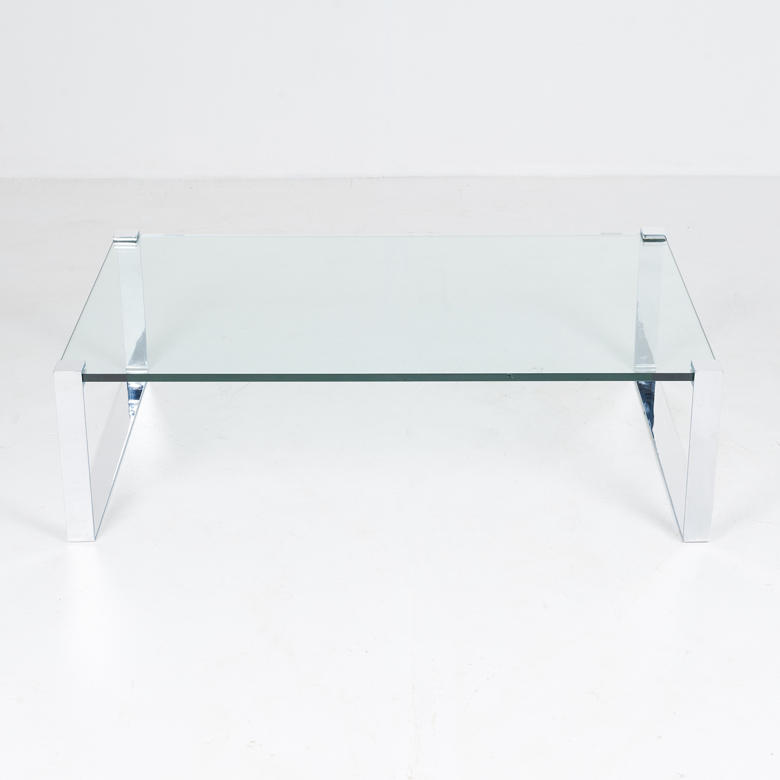 Model K 831 Rectangular Coffee Table With Glass And Polished Chrome By Friedrich Wilhelm Moller For Ronald Schmitt, 1970s, Germany 88