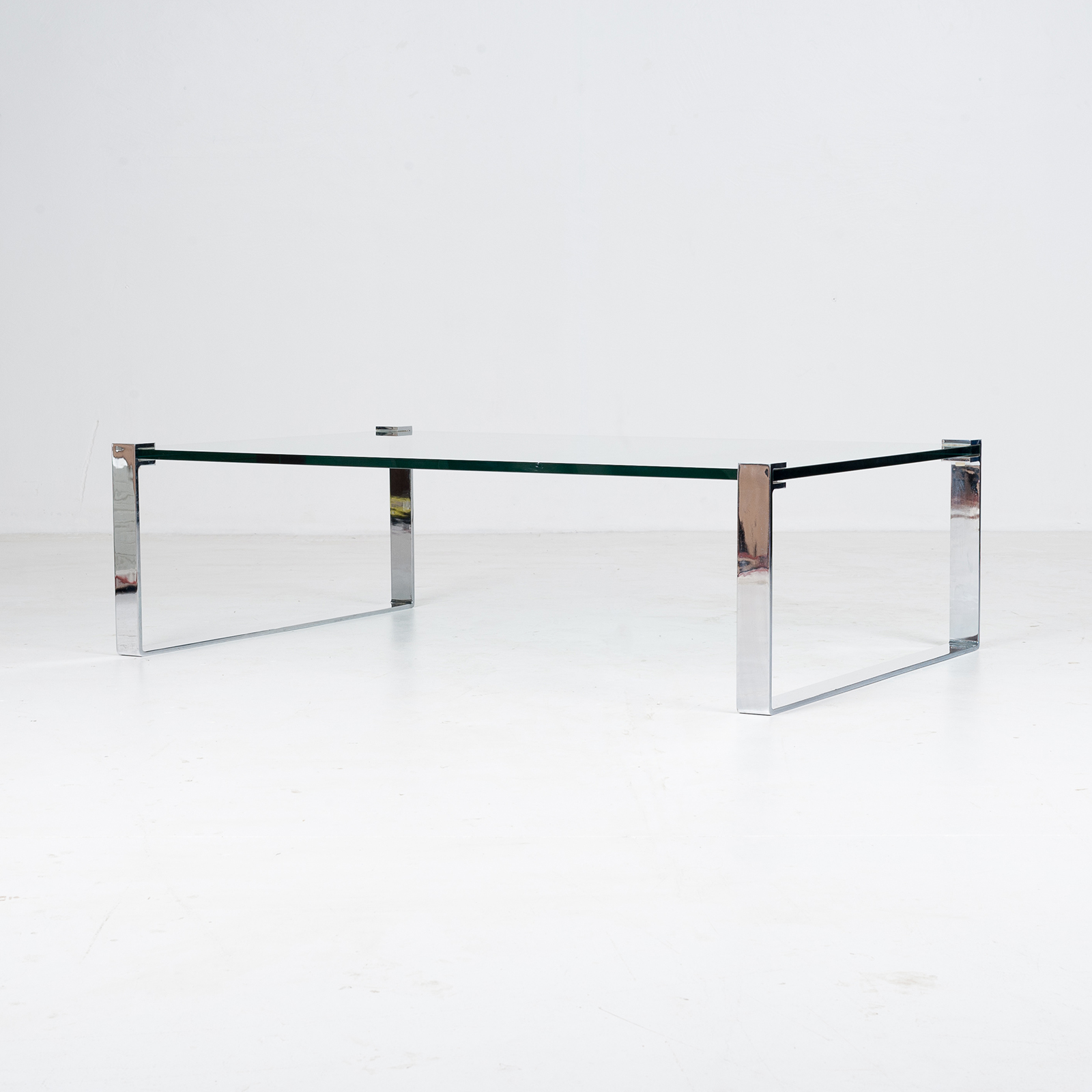 Model K 831 Rectangular Coffee Table With Glass And Polished Chrome By Friedrich Wilhelm Moller For Ronald Schmitt, 1970s, Germany 89