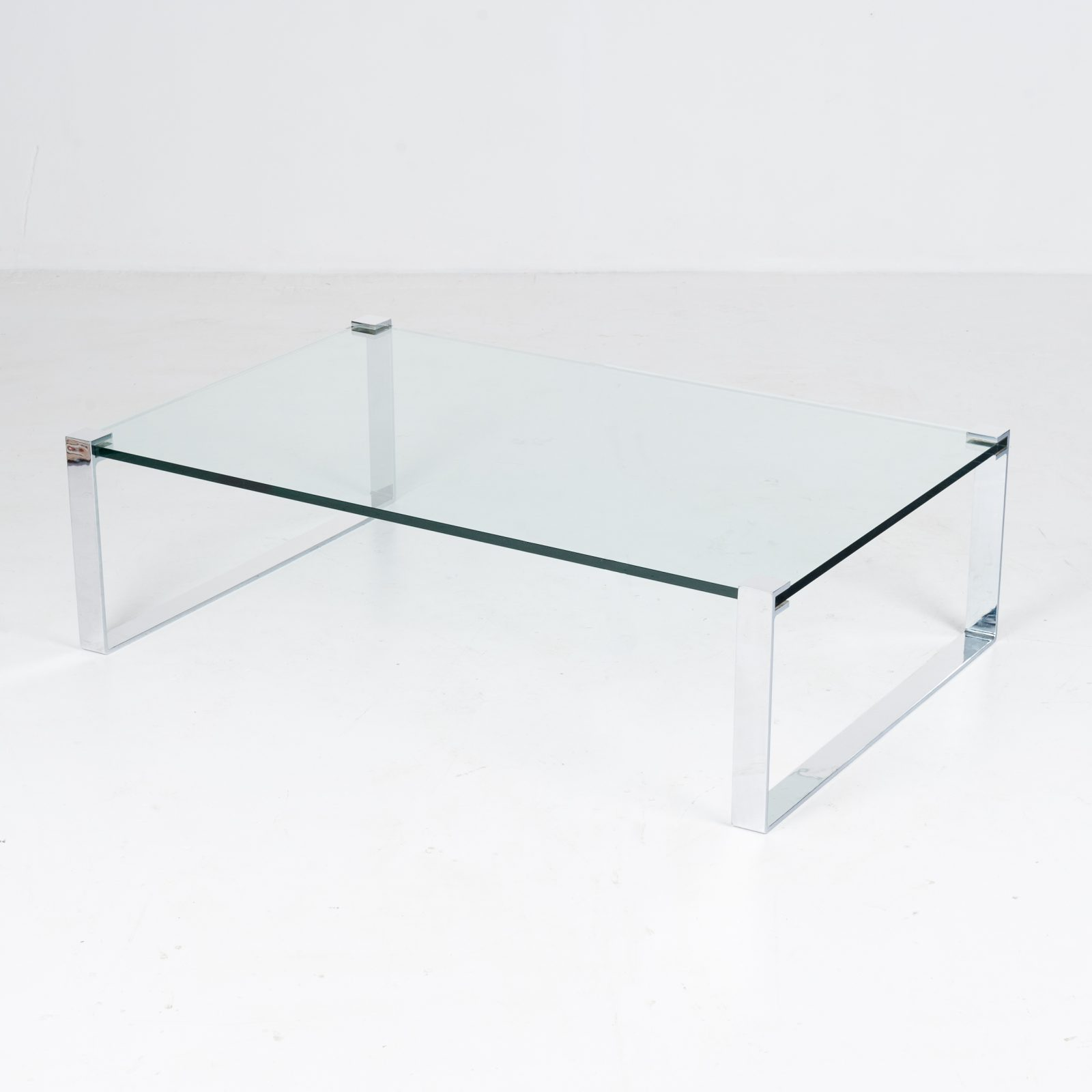 Model K 831 Rectangular Coffee Table With Glass And Polished Chrome By Friedrich Wilhelm Moller For Ronald Schmitt, 1970s, Germany 90