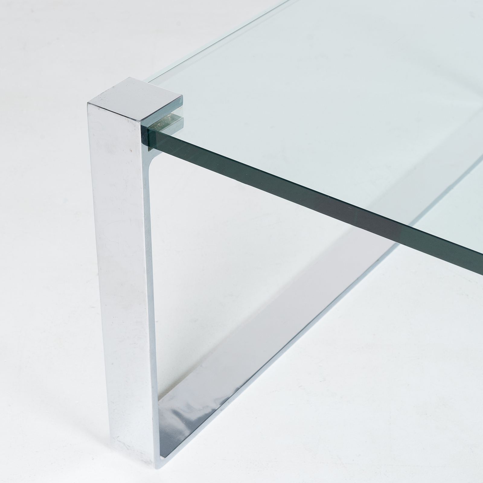 Model K 831 Rectangular Coffee Table With Glass And Polished Chrome By Friedrich Wilhelm Moller For Ronald Schmitt, 1970s, Germany 91